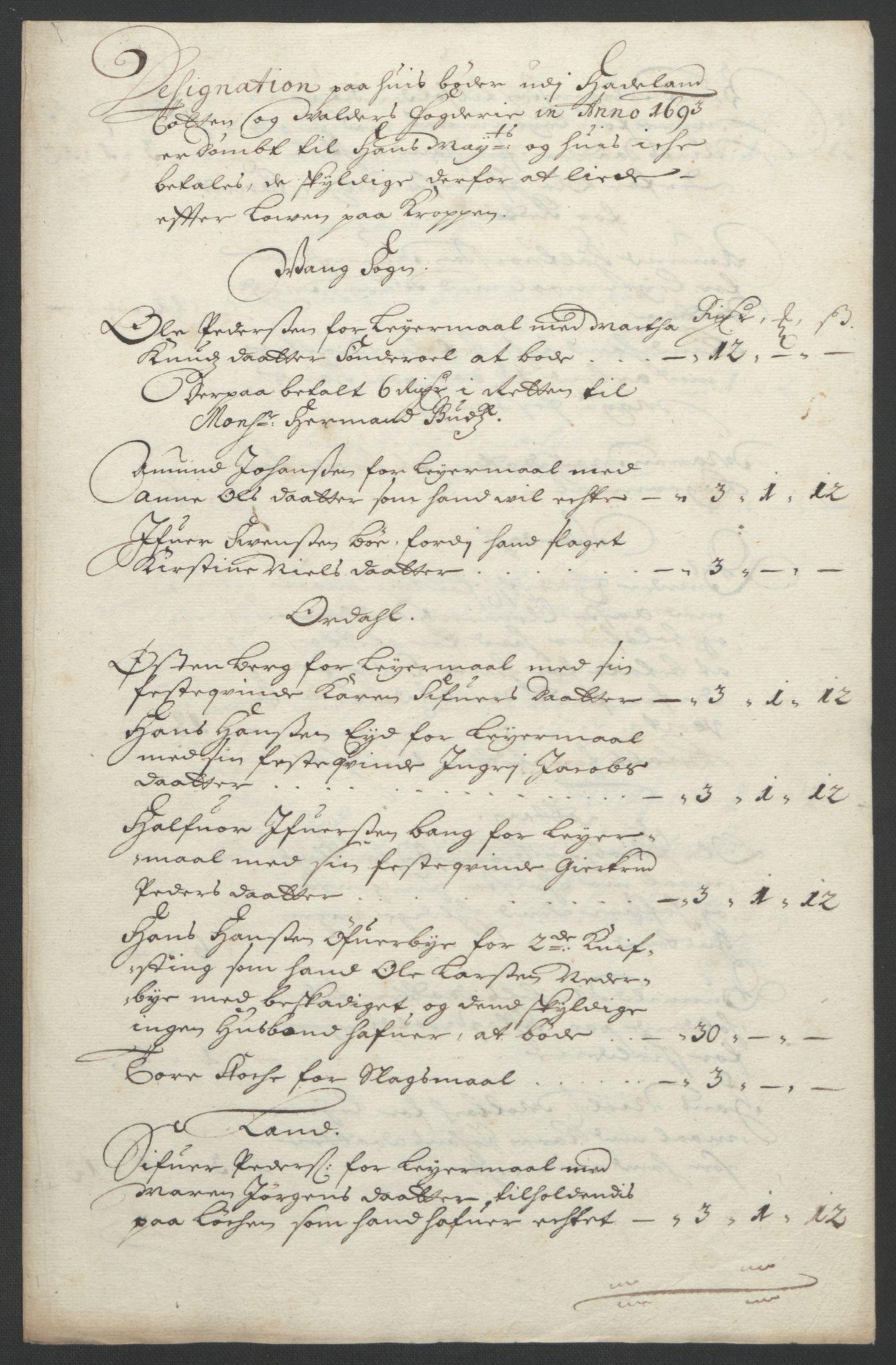 RA, Rentekammeret inntil 1814, Reviderte regnskaper, Fogderegnskap, R18/L1292: Fogderegnskap Hadeland, Toten og Valdres, 1693-1694, s. 61
