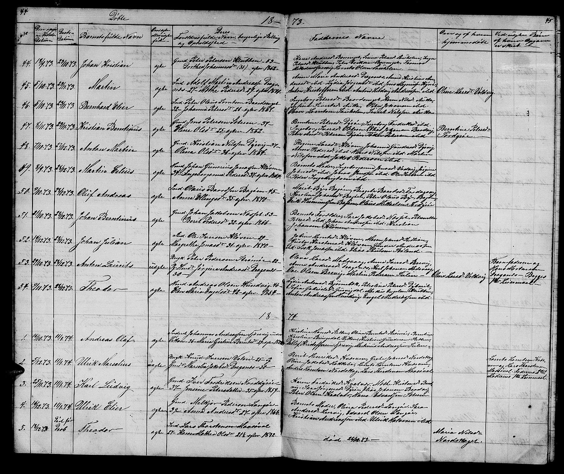 SAT, Ministerialprotokoller, klokkerbøker og fødselsregistre - Sør-Trøndelag, 640/L0583: Klokkerbok nr. 640C01, 1866-1877, s. 44-45