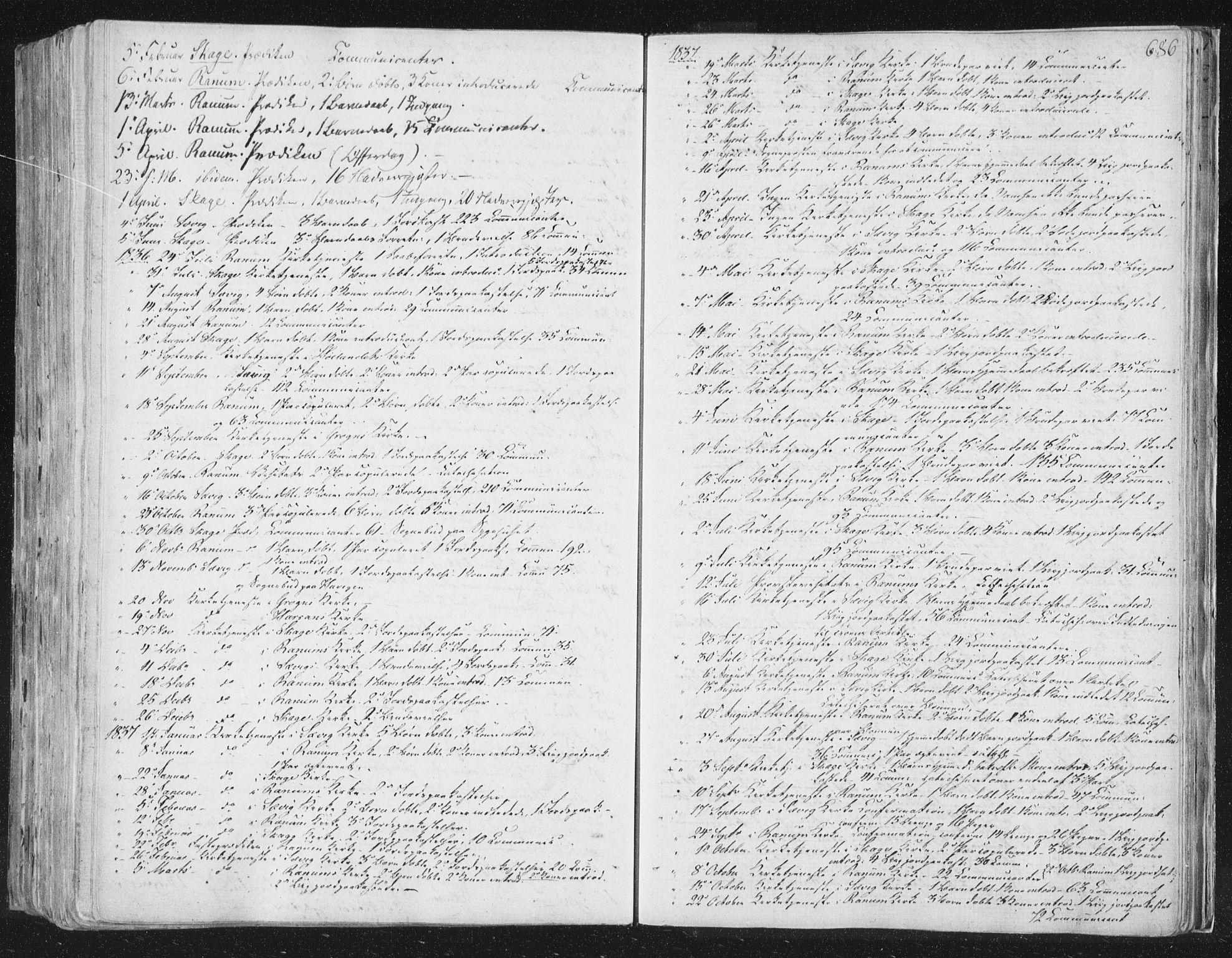 SAT, Ministerialprotokoller, klokkerbøker og fødselsregistre - Nord-Trøndelag, 764/L0552: Ministerialbok nr. 764A07b, 1824-1865, s. 686