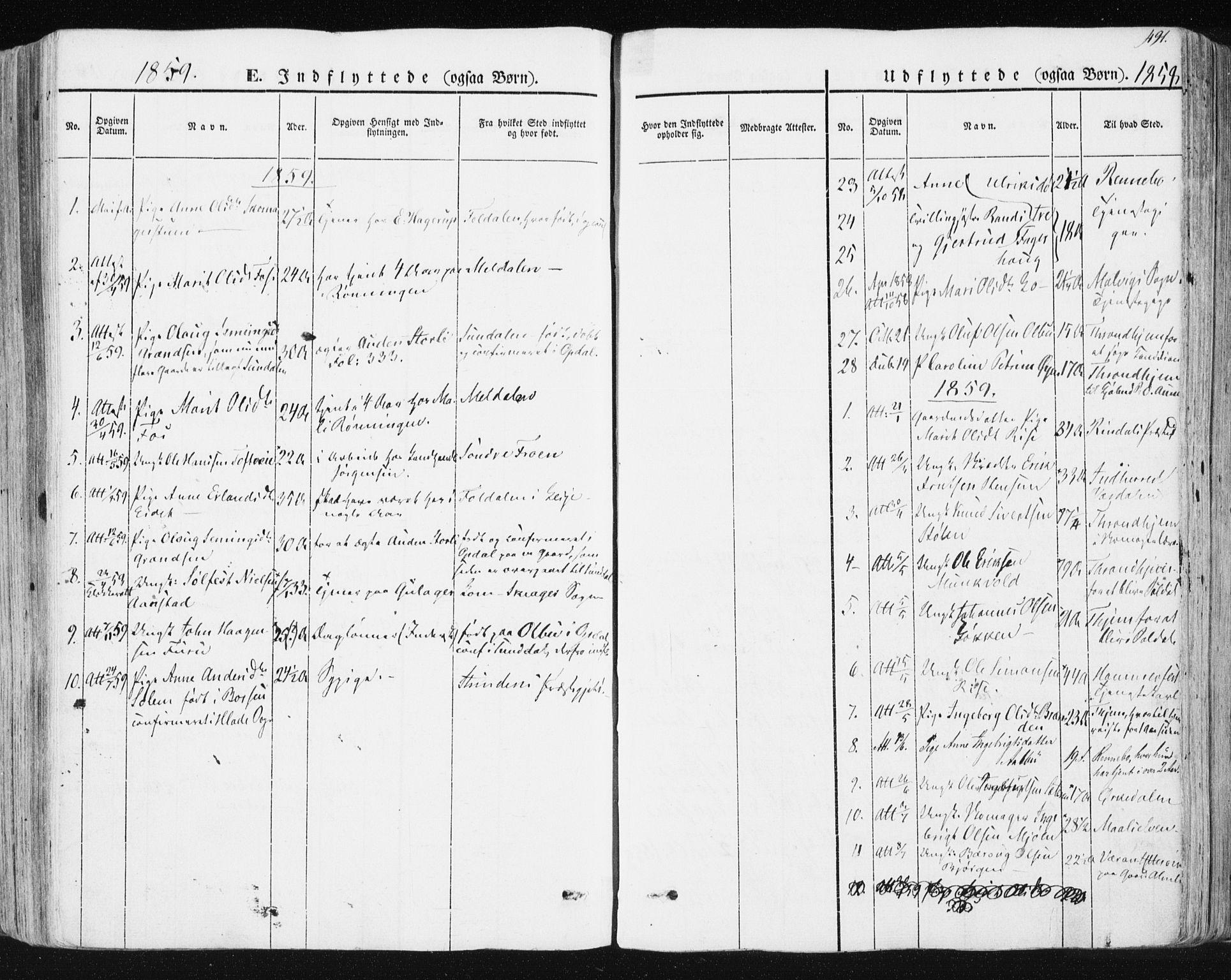 SAT, Ministerialprotokoller, klokkerbøker og fødselsregistre - Sør-Trøndelag, 678/L0899: Ministerialbok nr. 678A08, 1848-1872, s. 491