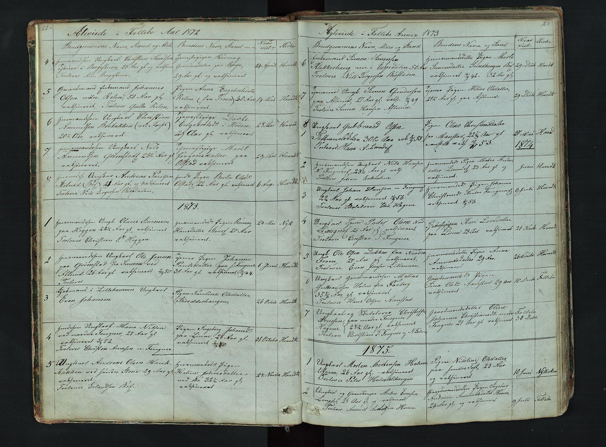 SAH, Gausdal prestekontor, Klokkerbok nr. 6, 1846-1893, s. 22-23