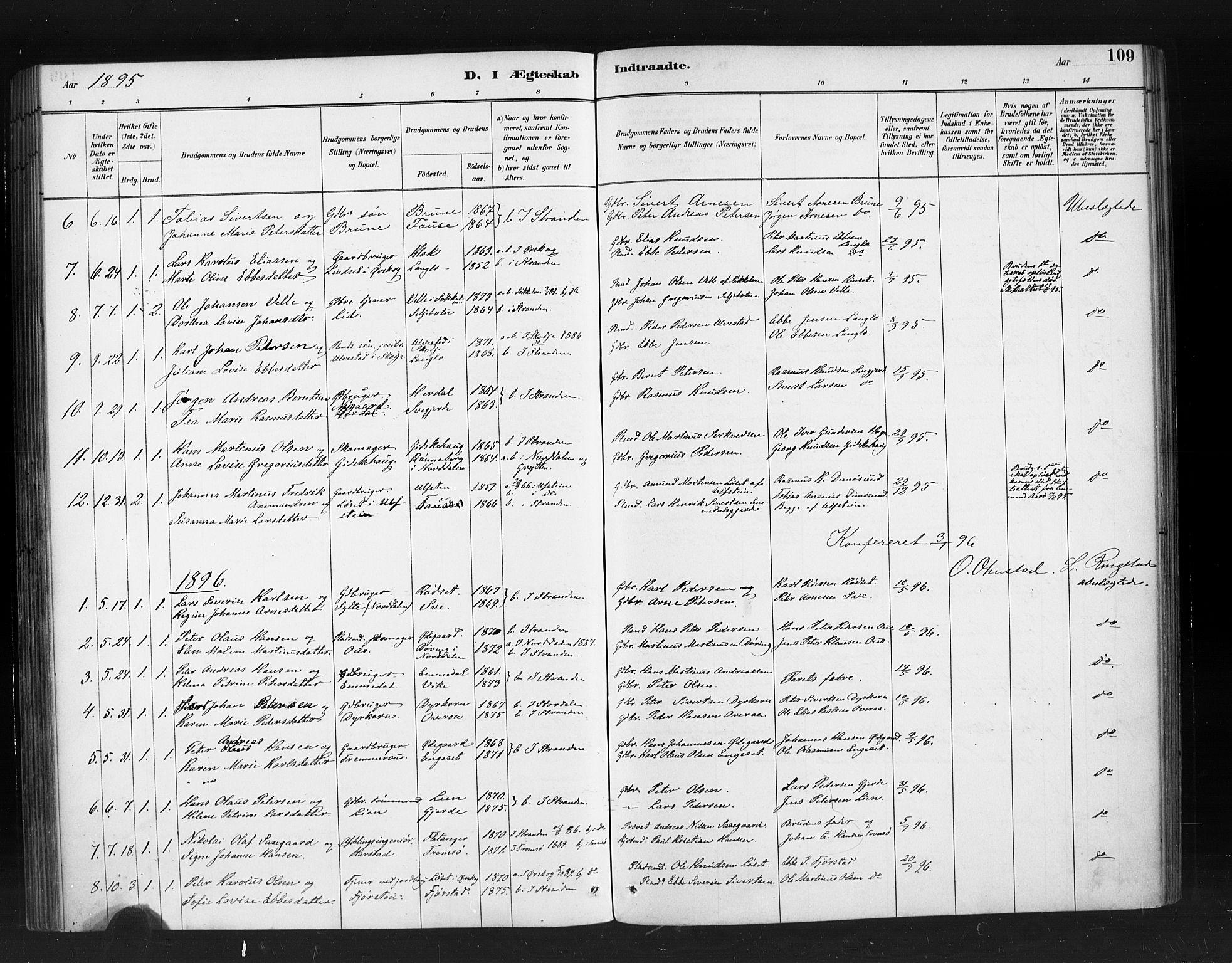 SAT, Ministerialprotokoller, klokkerbøker og fødselsregistre - Møre og Romsdal, 520/L0283: Ministerialbok nr. 520A12, 1882-1898, s. 109
