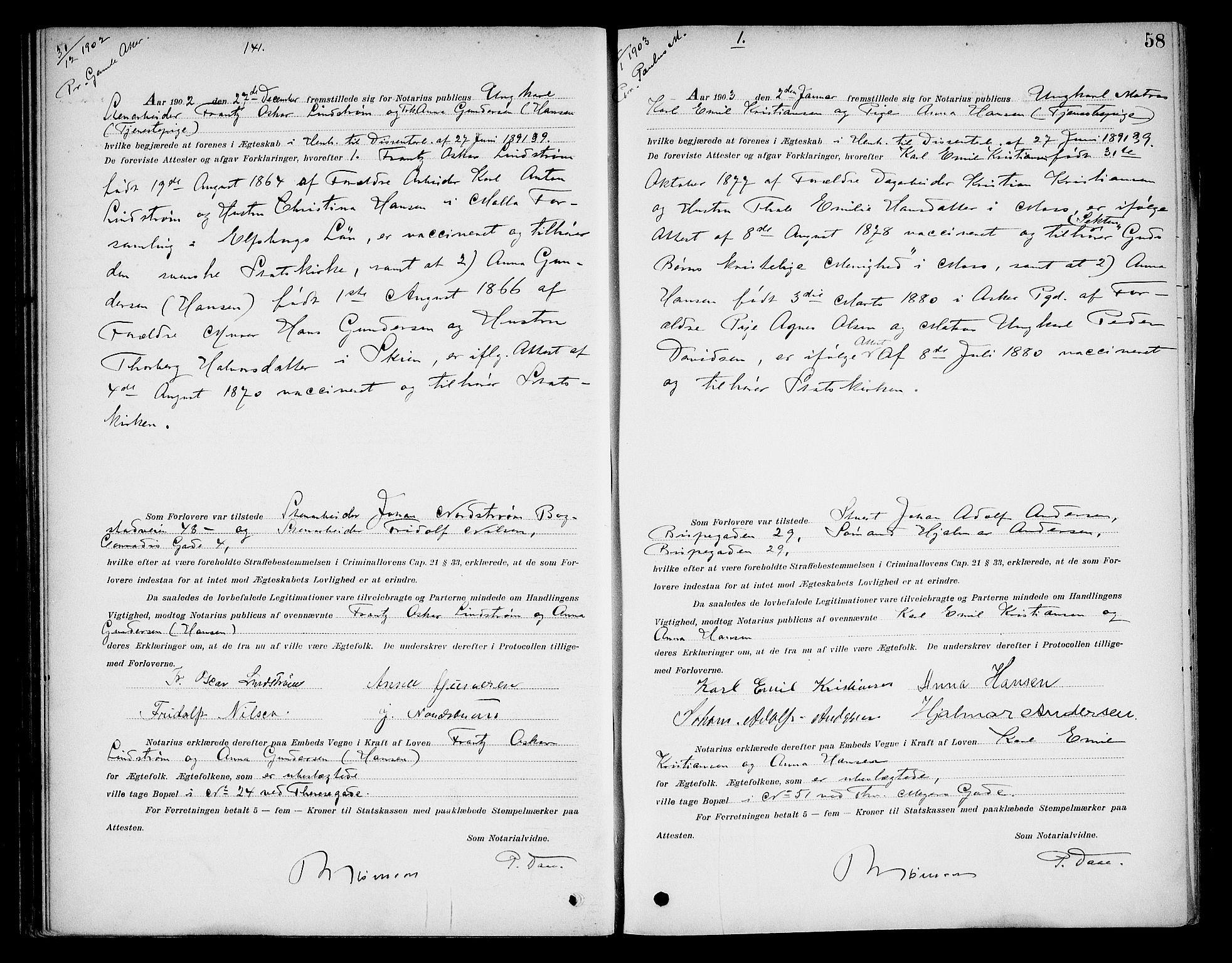 SAO, Oslo byfogd avd. I, L/Lb/Lbb/L0006: Notarialprotokoll, rekke II: Vigsler, 1902-1907, s. 57b-58a