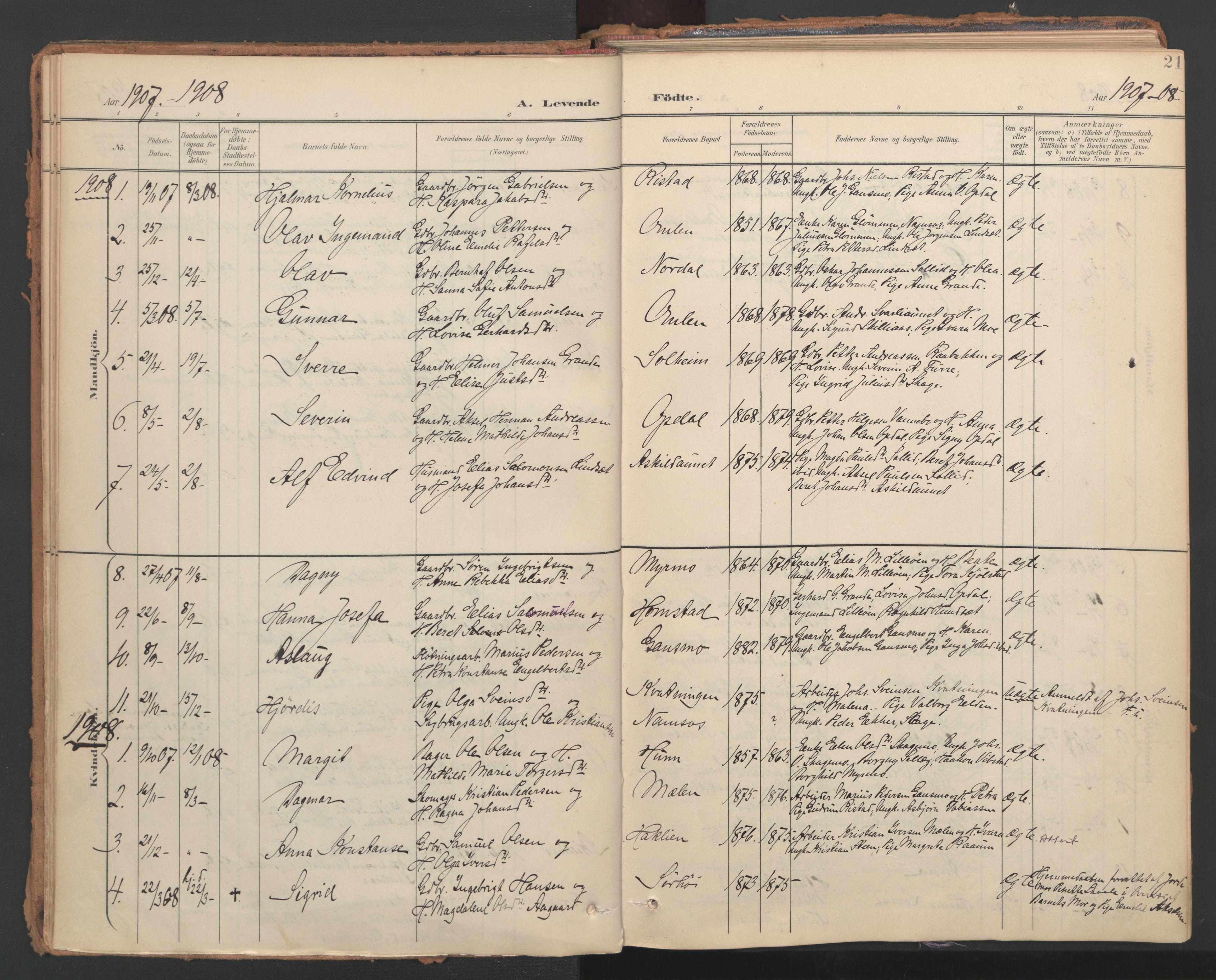SAT, Ministerialprotokoller, klokkerbøker og fødselsregistre - Nord-Trøndelag, 766/L0564: Ministerialbok nr. 767A02, 1900-1932, s. 21