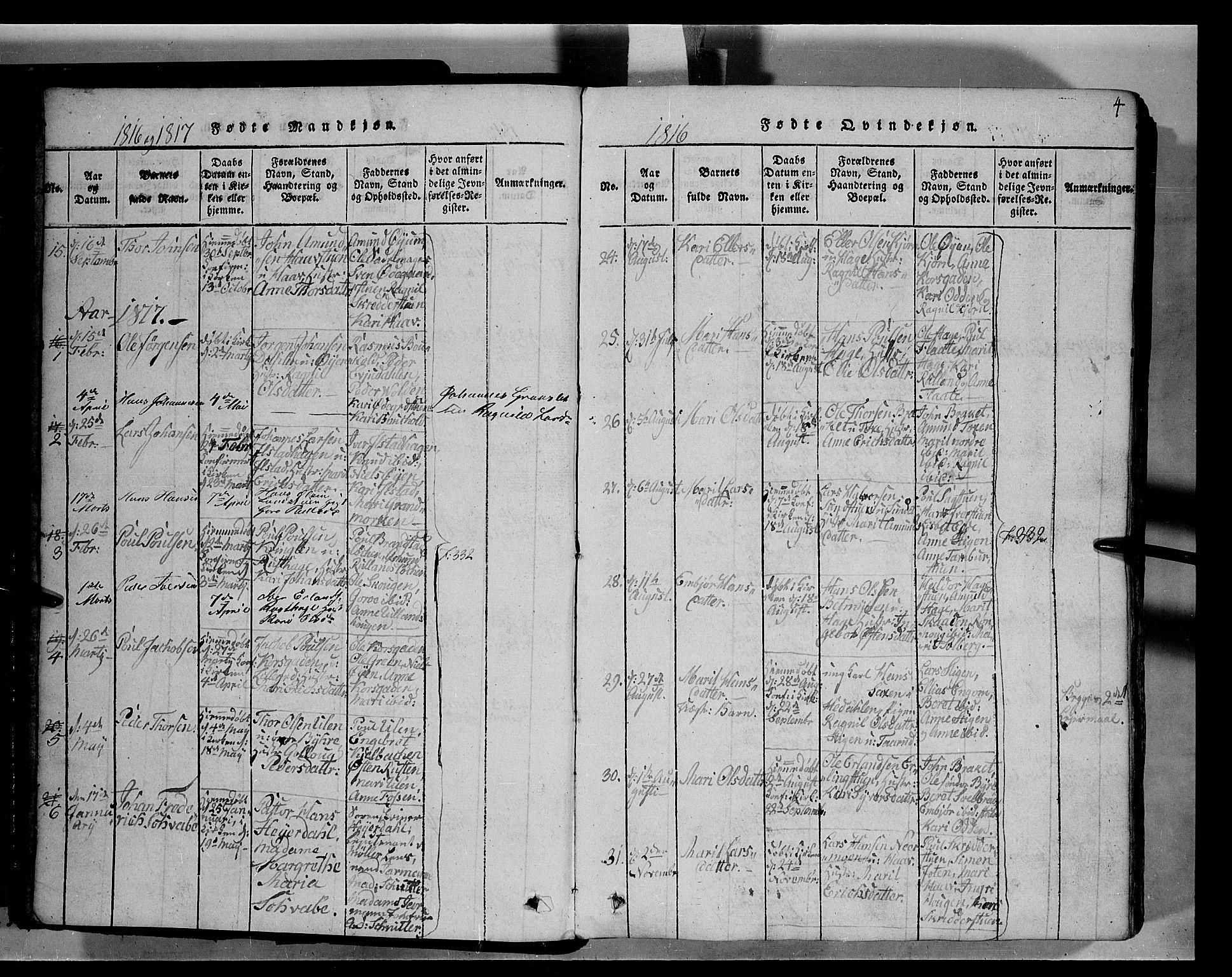 SAH, Fron prestekontor, H/Ha/Hab/L0004: Klokkerbok nr. 4, 1816-1850, s. 4