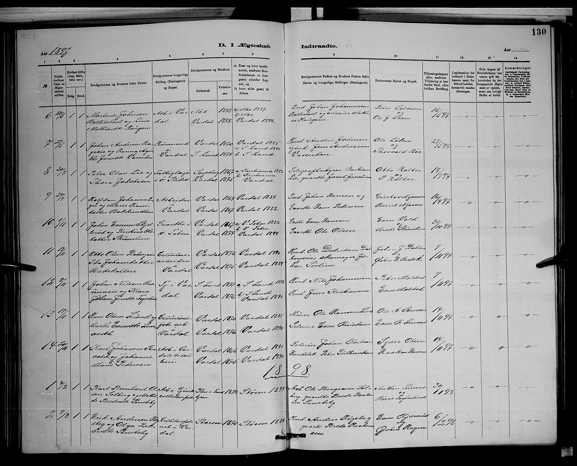 SAH, Vardal prestekontor, H/Ha/Hab/L0008: Klokkerbok nr. 8, 1881-1898, s. 130