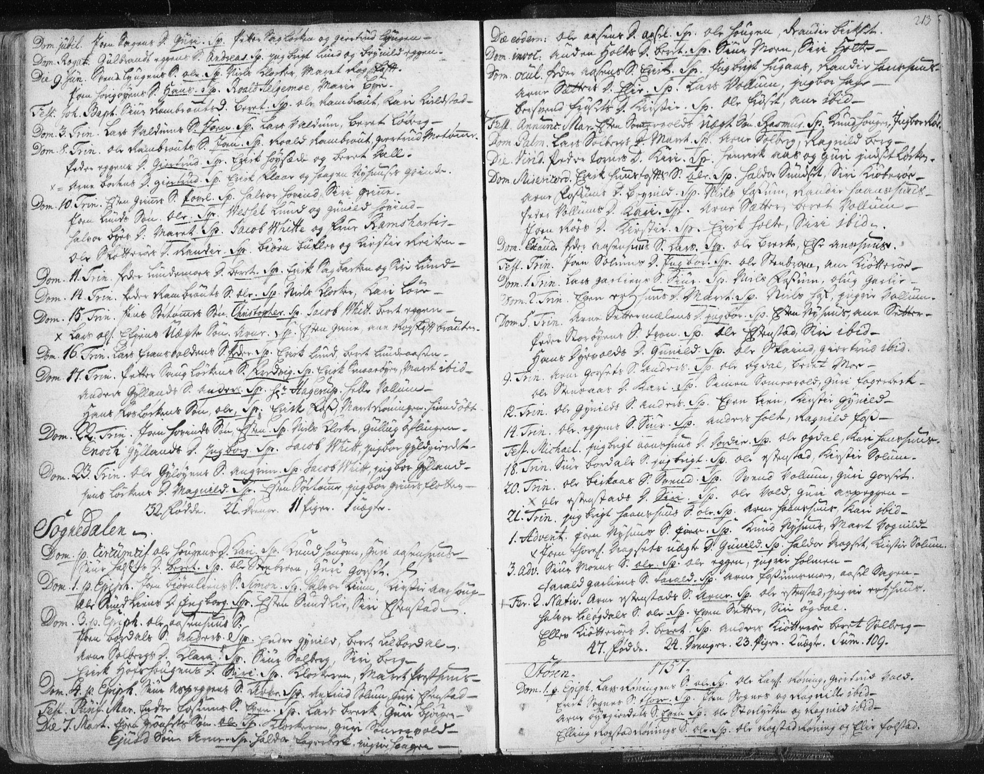 SAT, Ministerialprotokoller, klokkerbøker og fødselsregistre - Sør-Trøndelag, 687/L0991: Ministerialbok nr. 687A02, 1747-1790, s. 213