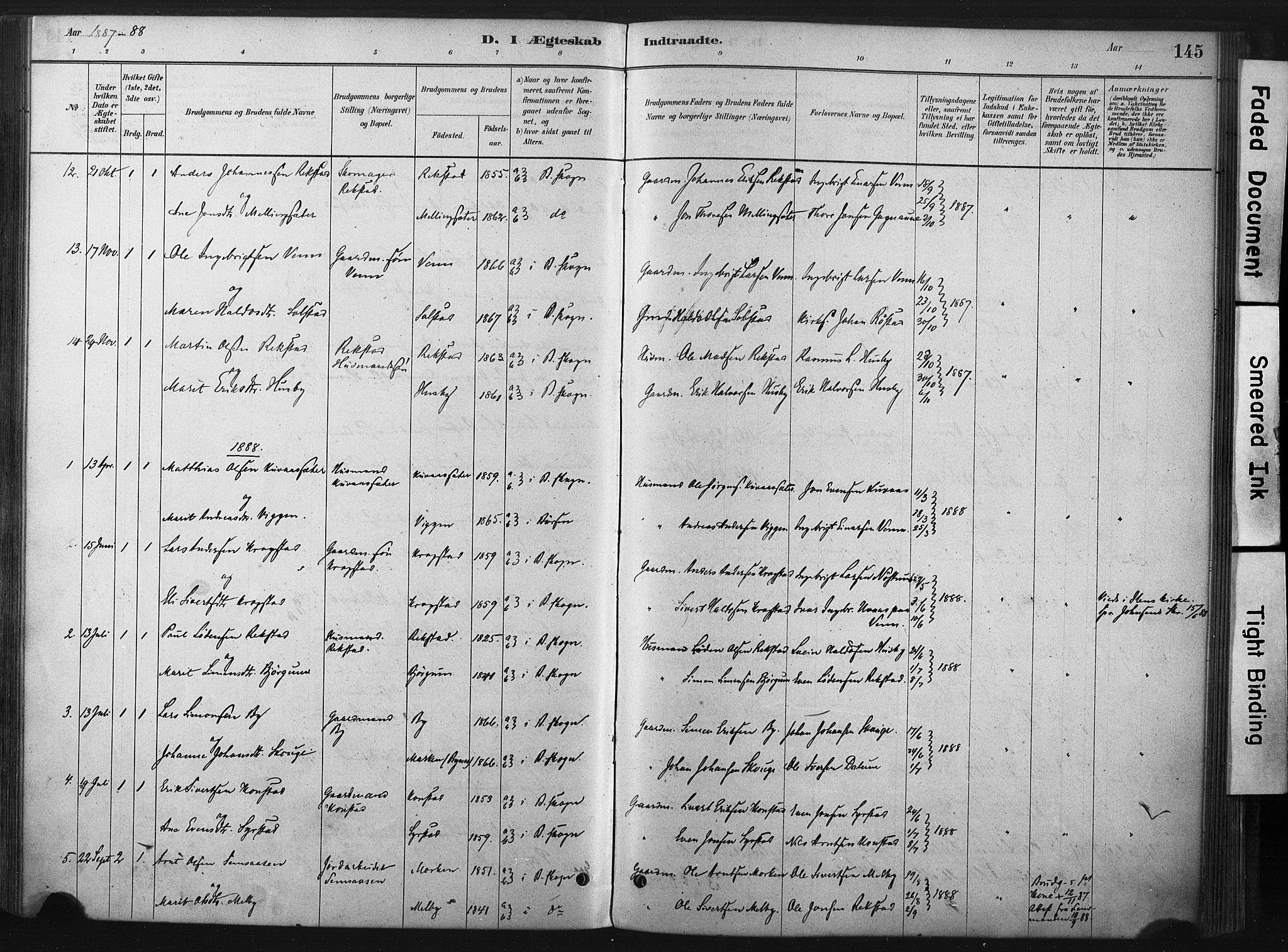 SAT, Ministerialprotokoller, klokkerbøker og fødselsregistre - Sør-Trøndelag, 667/L0795: Ministerialbok nr. 667A03, 1879-1907, s. 145
