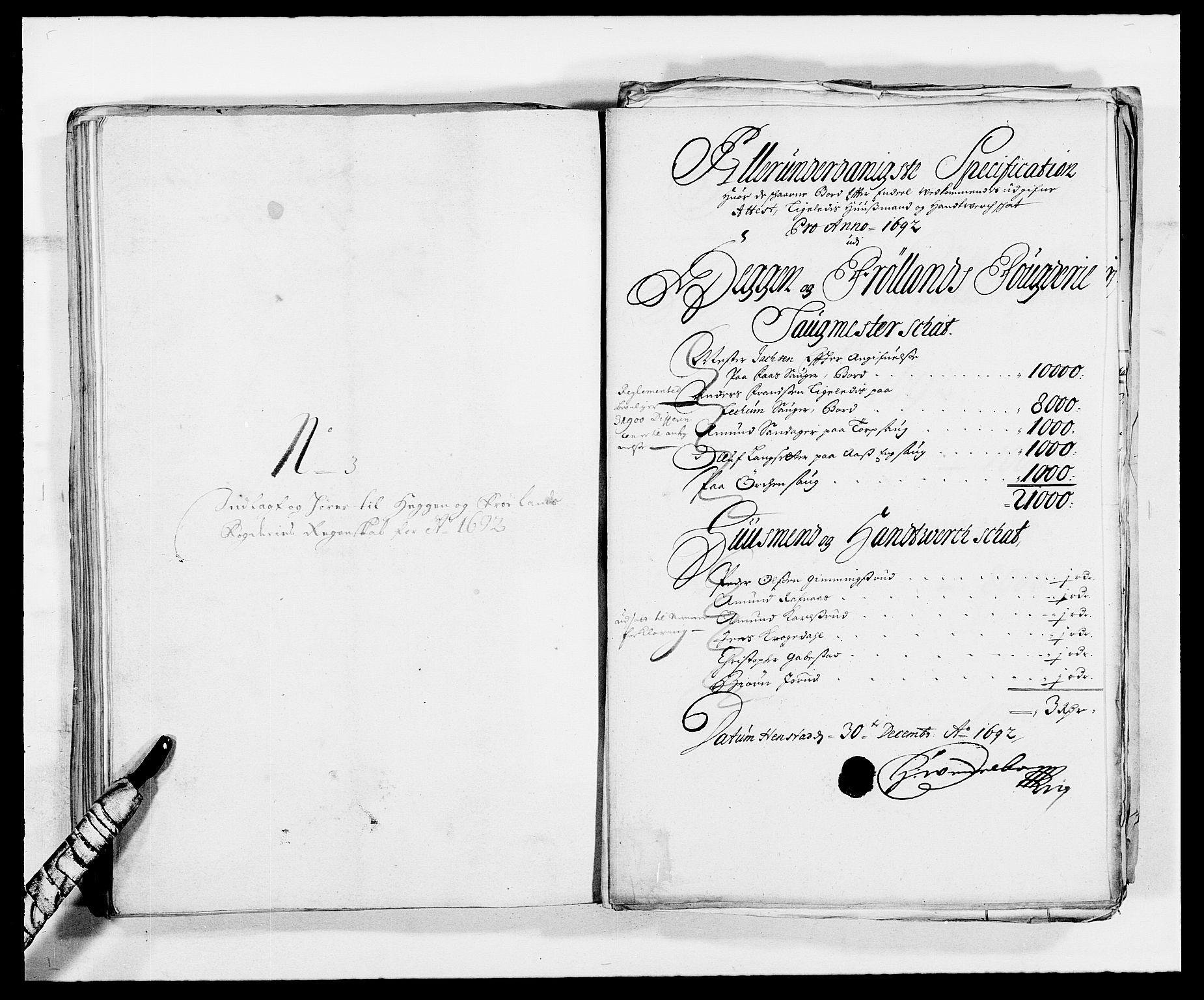 RA, Rentekammeret inntil 1814, Reviderte regnskaper, Fogderegnskap, R06/L0283: Fogderegnskap Heggen og Frøland, 1691-1693, s. 250