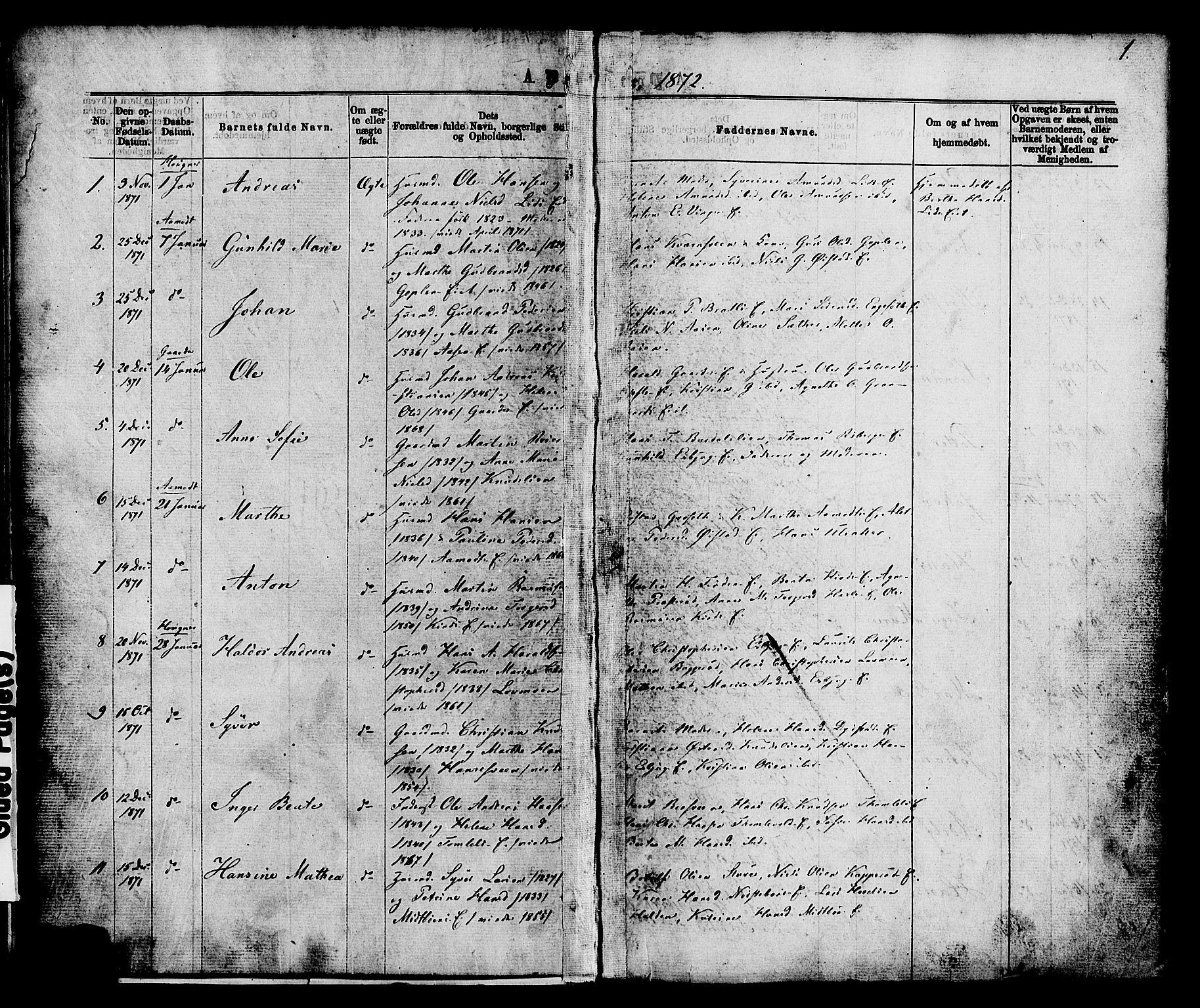 SAH, Nordre Land prestekontor, Ministerialbok nr. 2, 1872-1881, s. 1