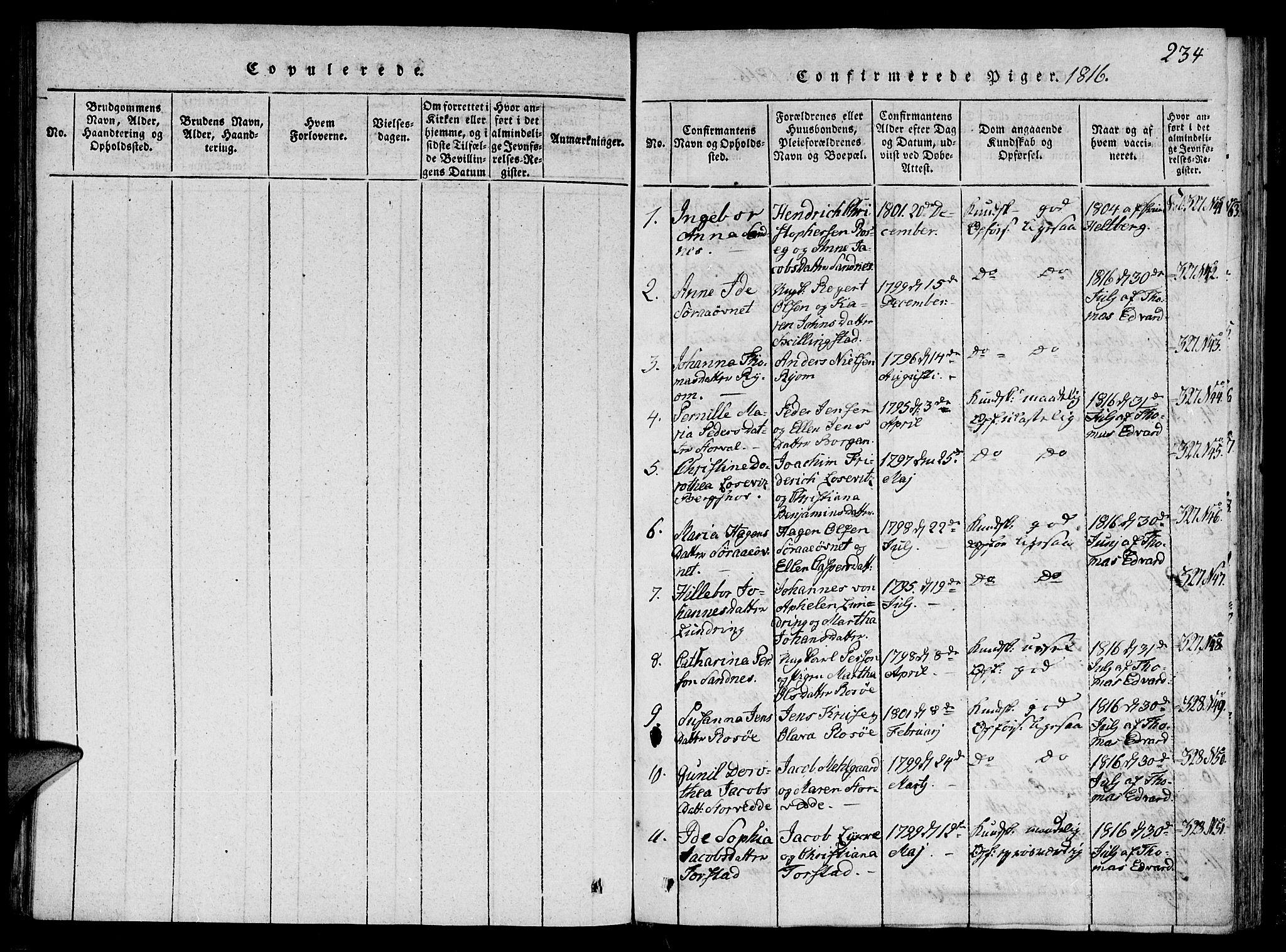 SAT, Ministerialprotokoller, klokkerbøker og fødselsregistre - Nord-Trøndelag, 784/L0667: Ministerialbok nr. 784A03 /1, 1816-1829, s. 234