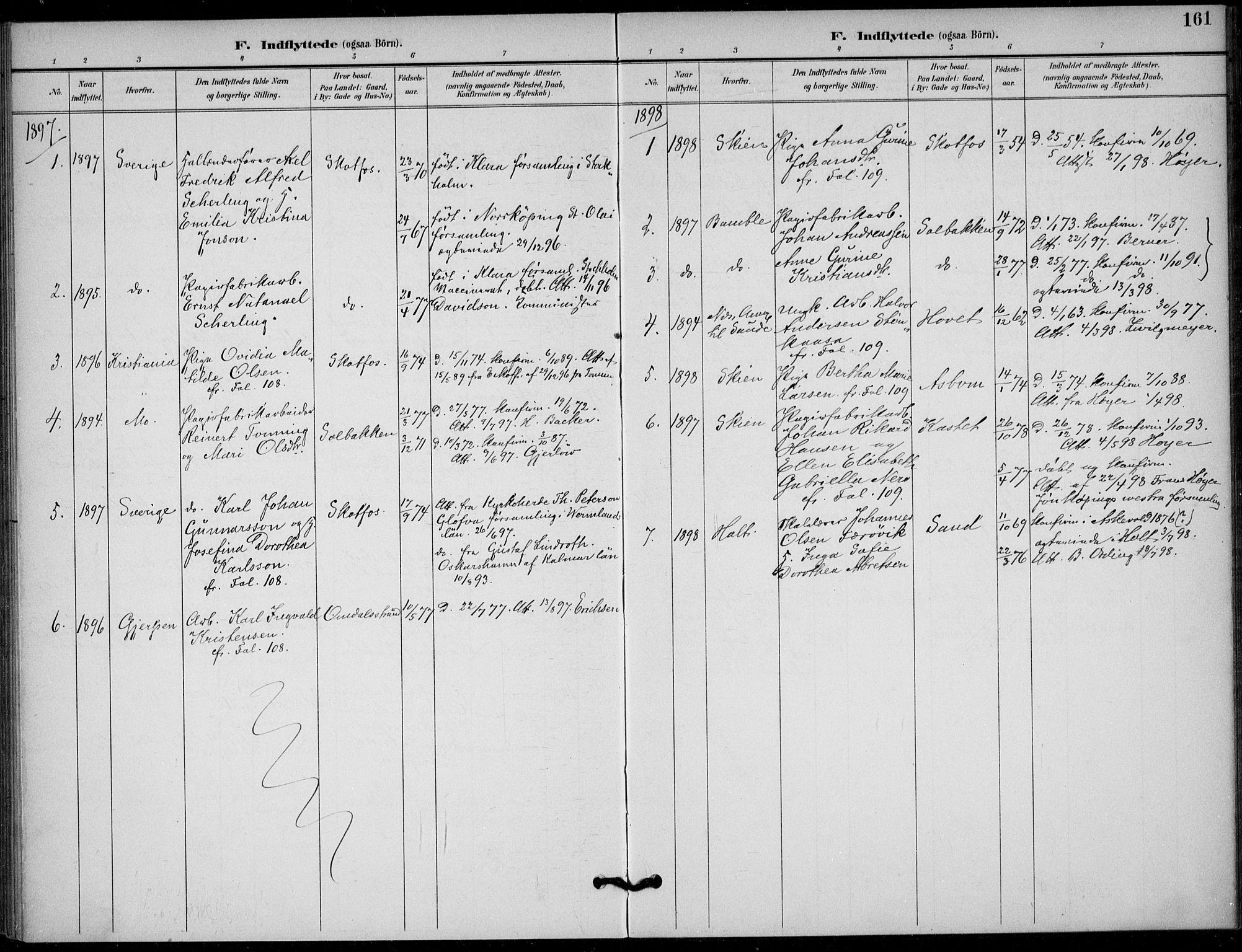 SAKO, Solum kirkebøker, F/Fb/L0002: Ministerialbok nr. II 2, 1893-1901, s. 161