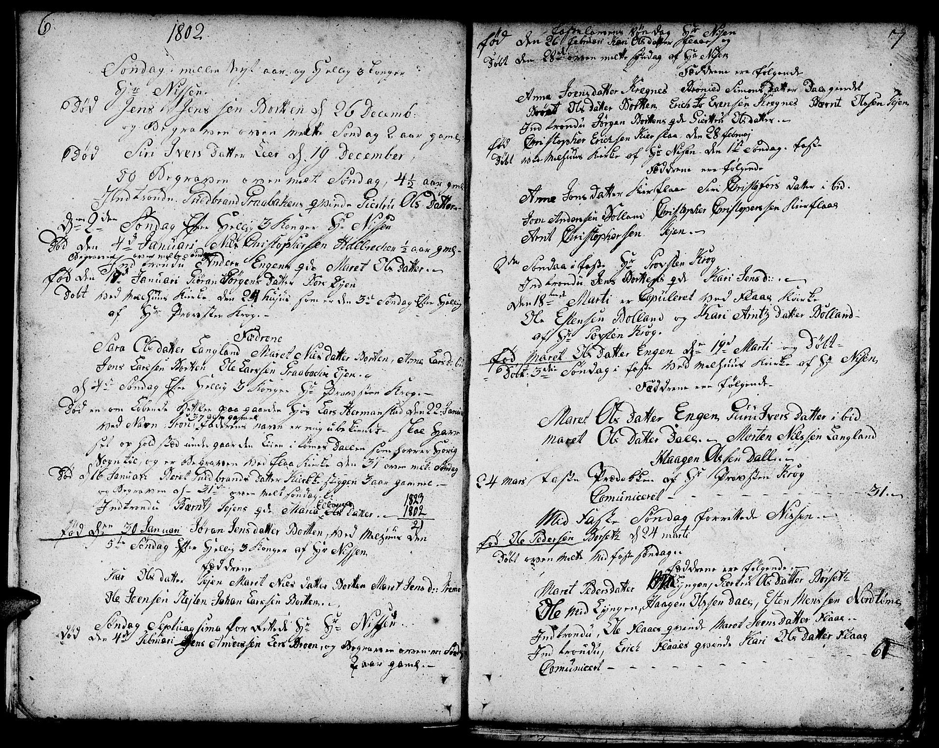 SAT, Ministerialprotokoller, klokkerbøker og fødselsregistre - Sør-Trøndelag, 693/L1120: Klokkerbok nr. 693C01, 1799-1816, s. 6-7