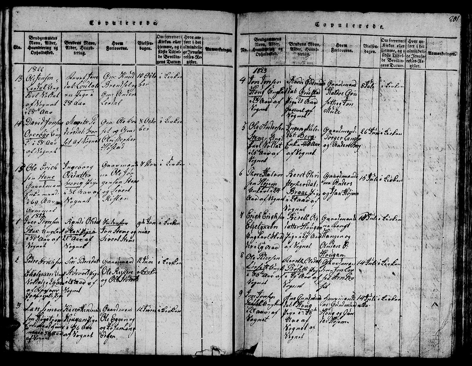 SAT, Ministerialprotokoller, klokkerbøker og fødselsregistre - Sør-Trøndelag, 612/L0385: Klokkerbok nr. 612C01, 1816-1845, s. 201