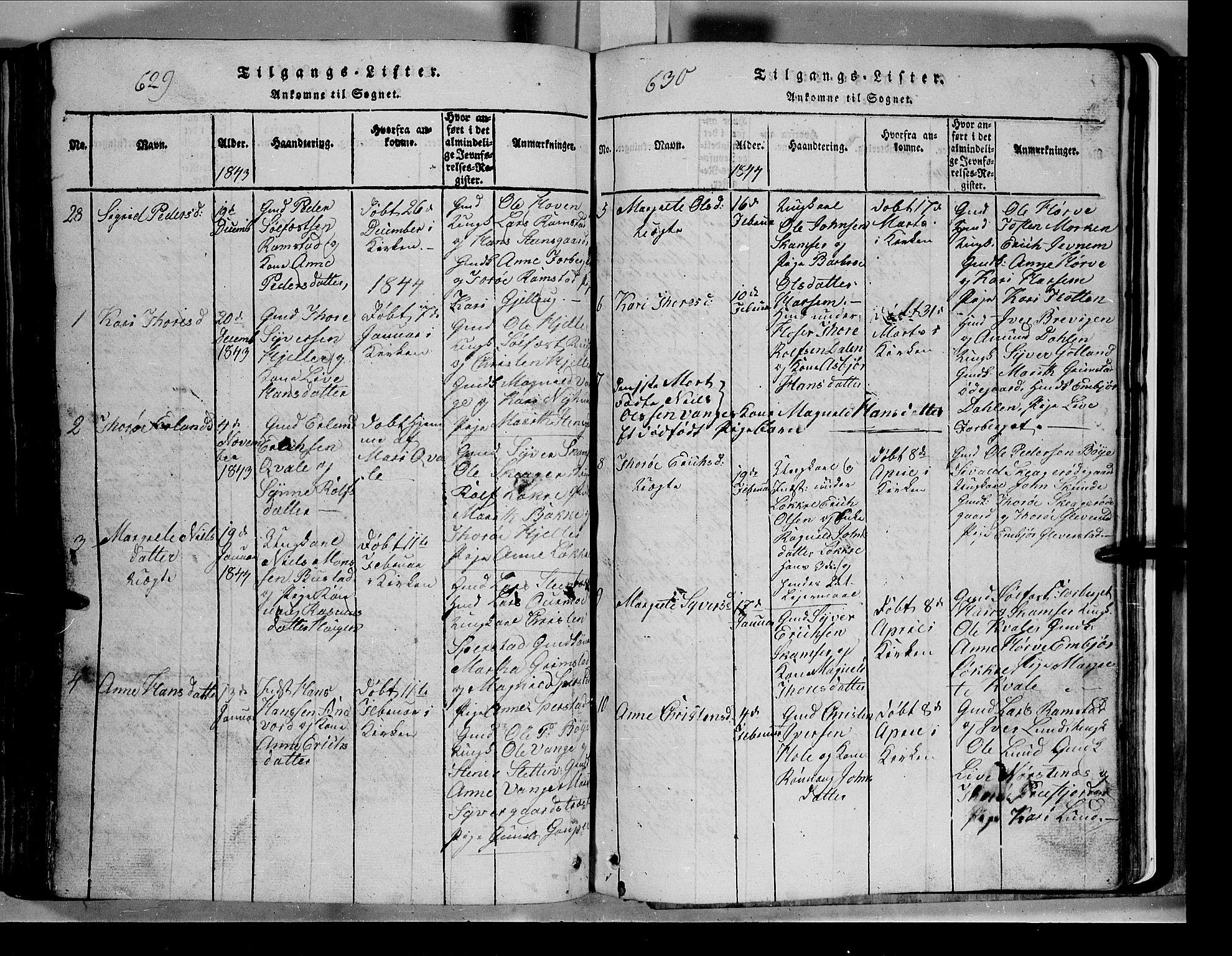 SAH, Lom prestekontor, L/L0003: Klokkerbok nr. 3, 1815-1844, s. 629-630