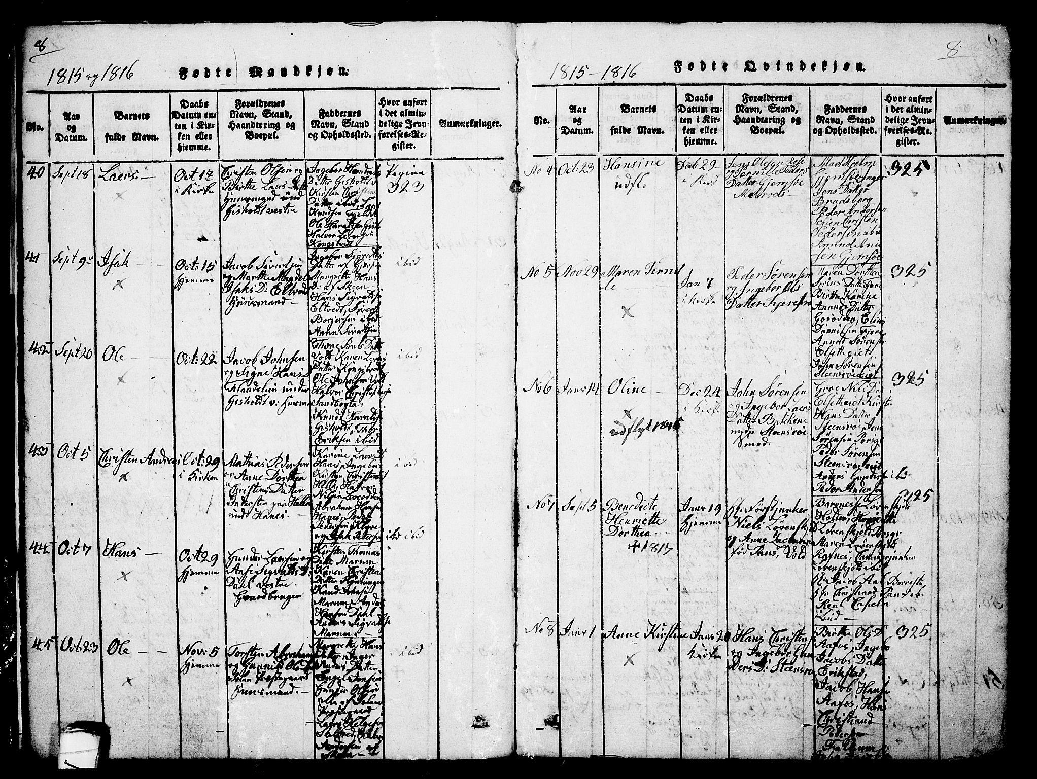 SAKO, Solum kirkebøker, G/Ga/L0001: Klokkerbok nr. I 1, 1814-1833, s. 8