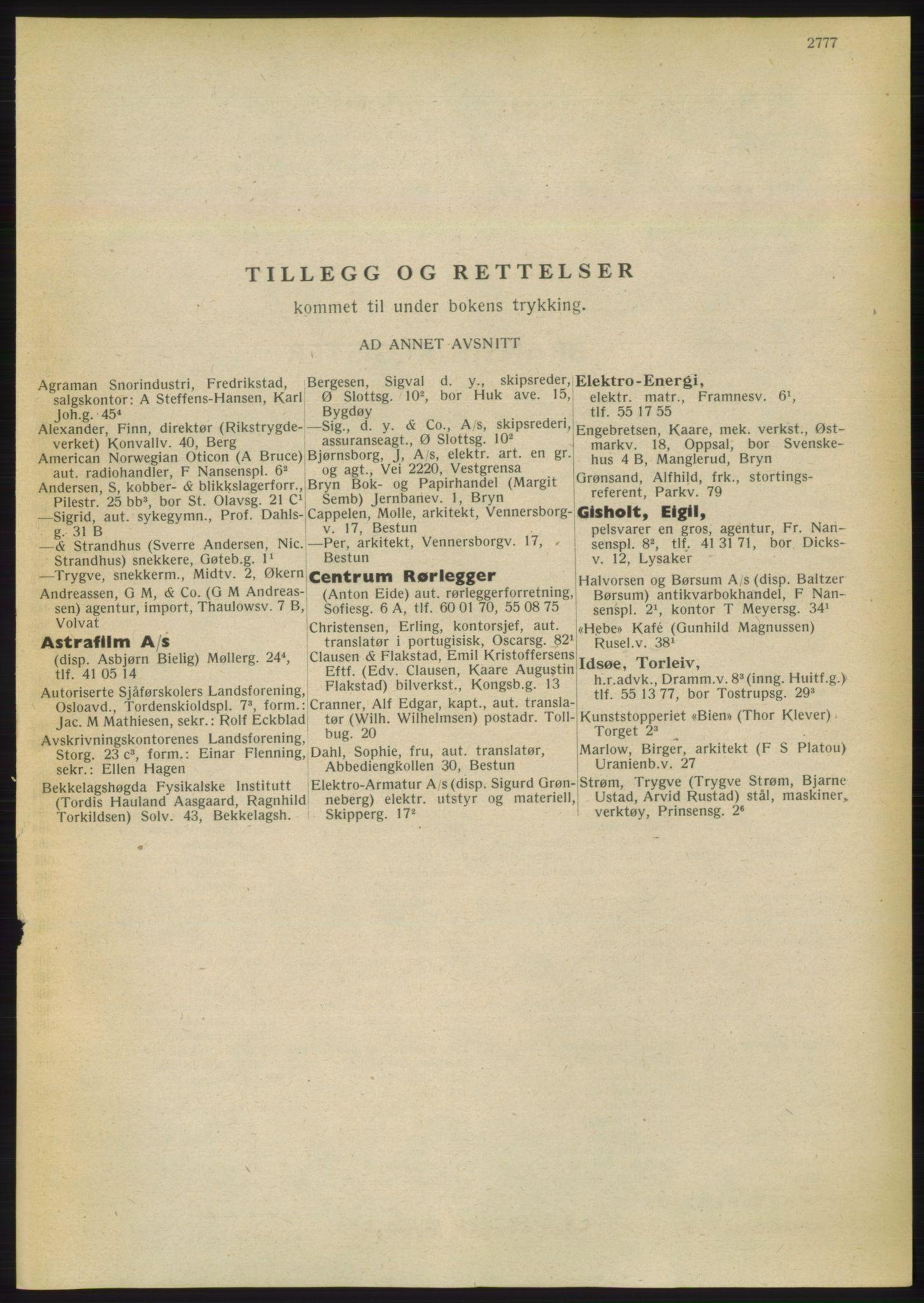 RA, Oslo adressebok (publikasjon)*, 1949, s. 2777
