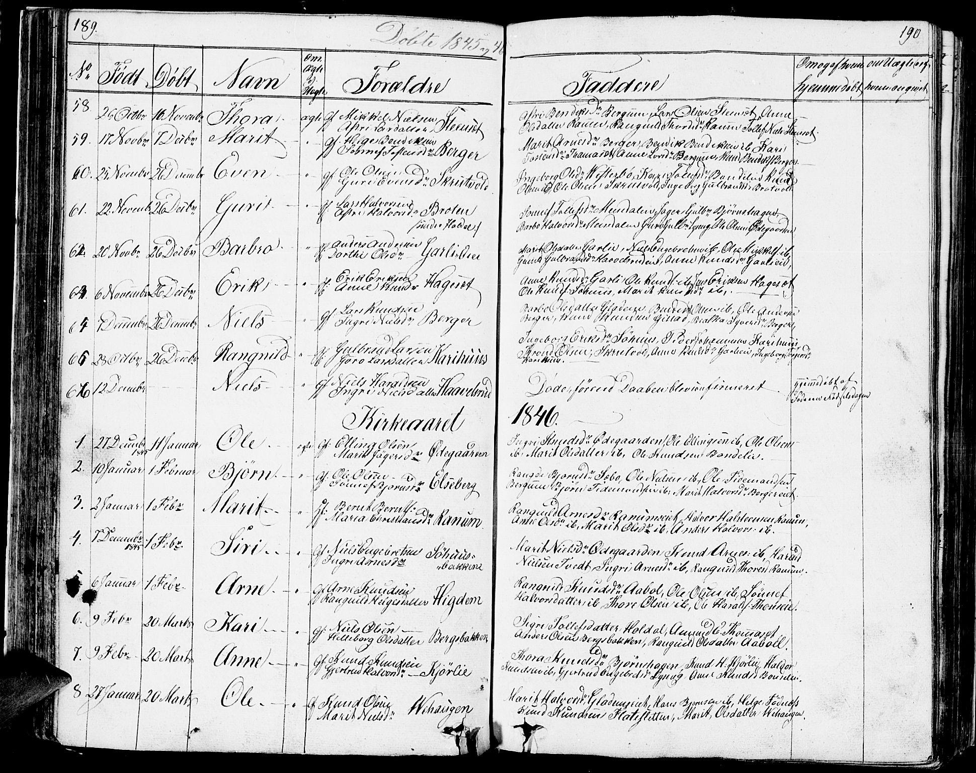 SAH, Nord-Aurdal prestekontor, Klokkerbok nr. 1, 1834-1887, s. 189-190