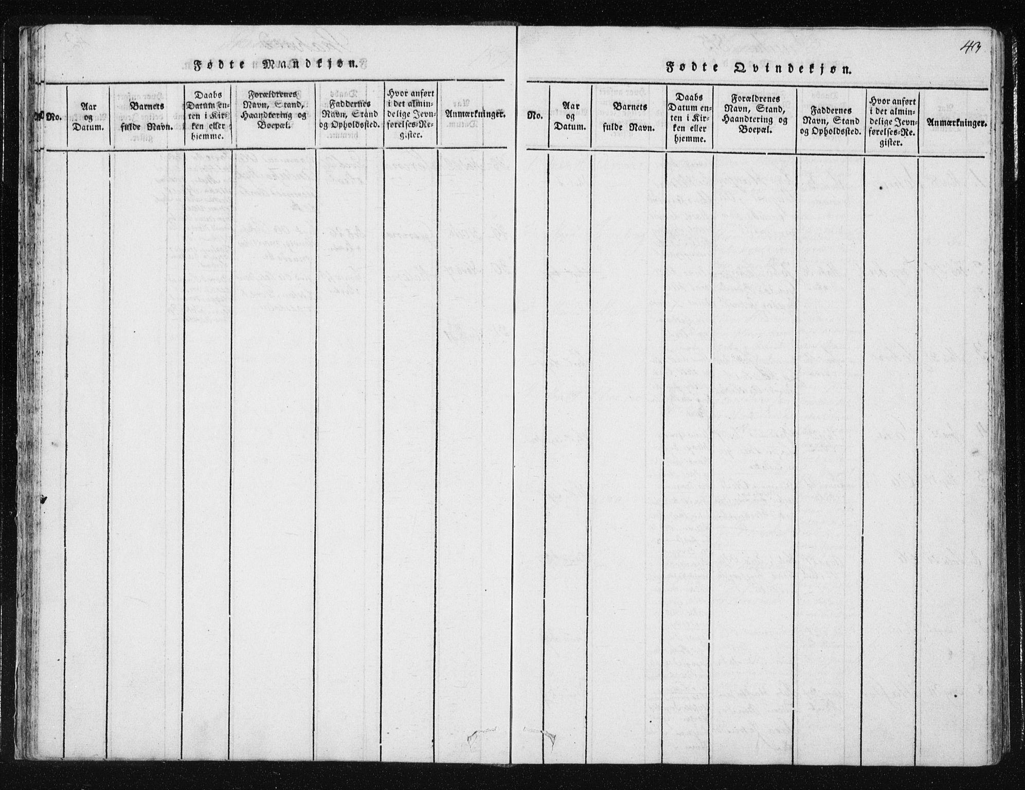 SAT, Ministerialprotokoller, klokkerbøker og fødselsregistre - Nord-Trøndelag, 709/L0061: Ministerialbok nr. 709A08 /2, 1815-1819, s. 43