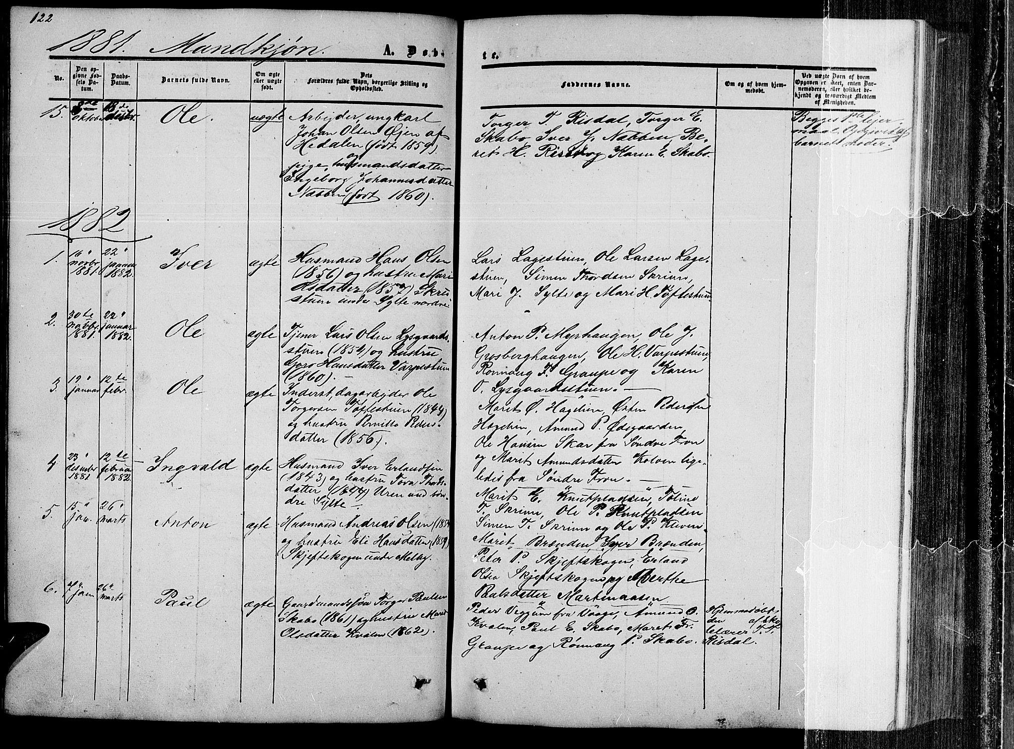 SAH, Nord-Fron prestekontor, Klokkerbok nr. 2, 1851-1883, s. 122
