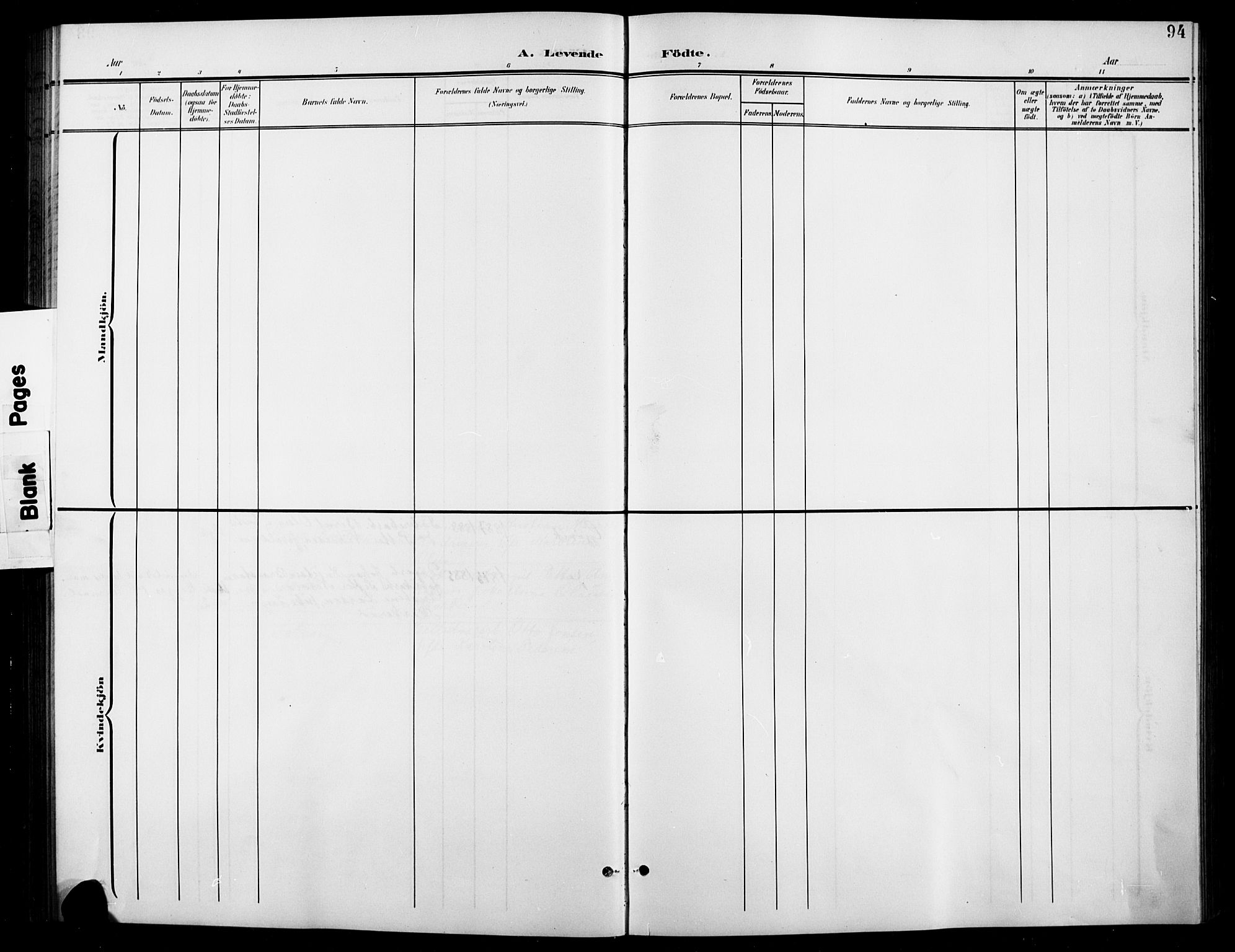 SAH, Vardal prestekontor, H/Ha/Hab/L0012: Klokkerbok nr. 12, 1902-1911, s. 94