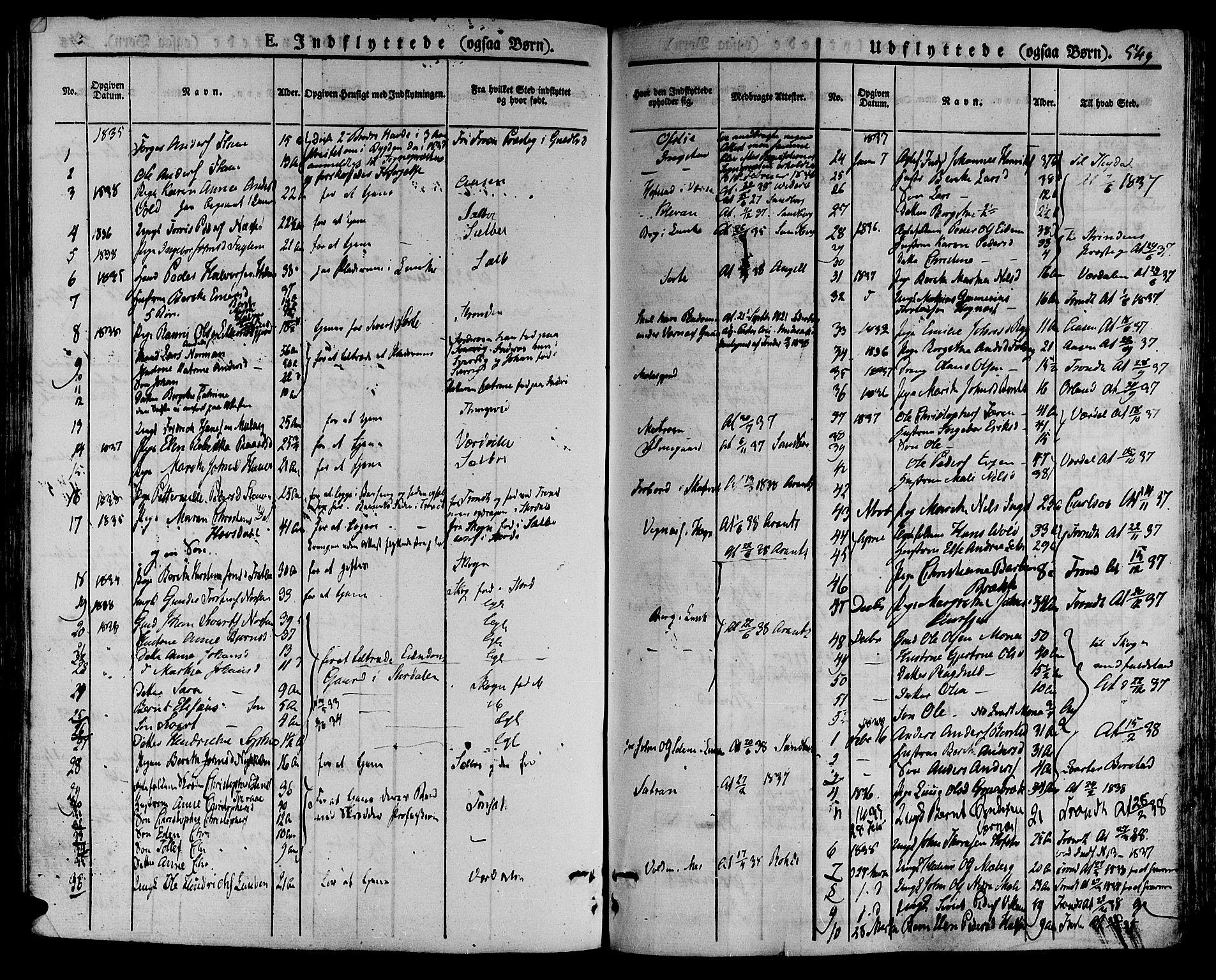 SAT, Ministerialprotokoller, klokkerbøker og fødselsregistre - Nord-Trøndelag, 709/L0072: Ministerialbok nr. 709A12, 1833-1844, s. 549