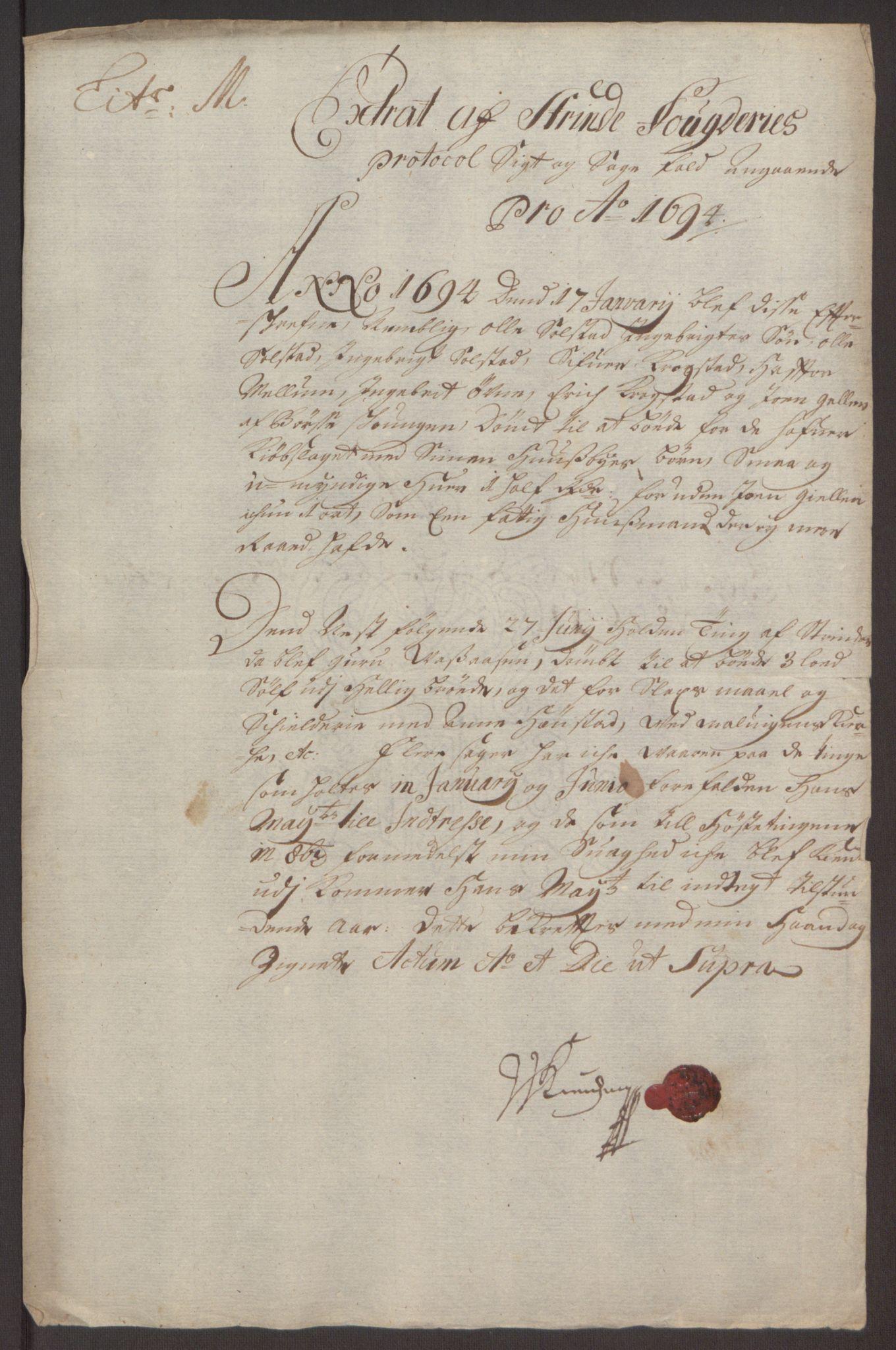 RA, Rentekammeret inntil 1814, Reviderte regnskaper, Fogderegnskap, R61/L4104: Fogderegnskap Strinda og Selbu, 1693-1694, s. 279
