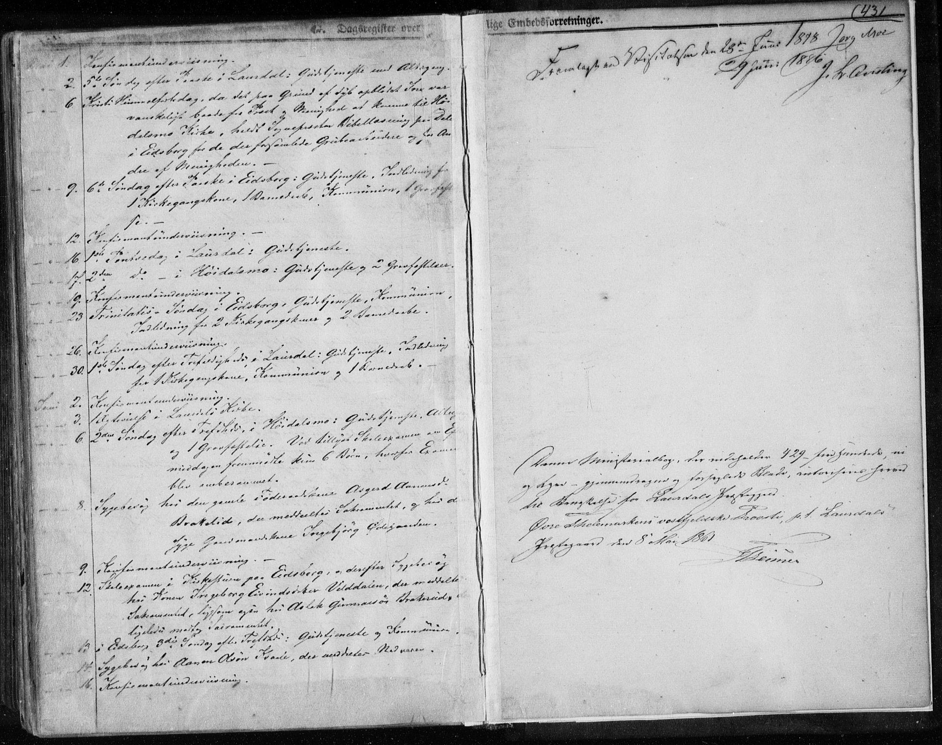 SAKO, Lårdal kirkebøker, F/Fa/L0006: Ministerialbok nr. I 6, 1861-1886, s. 431