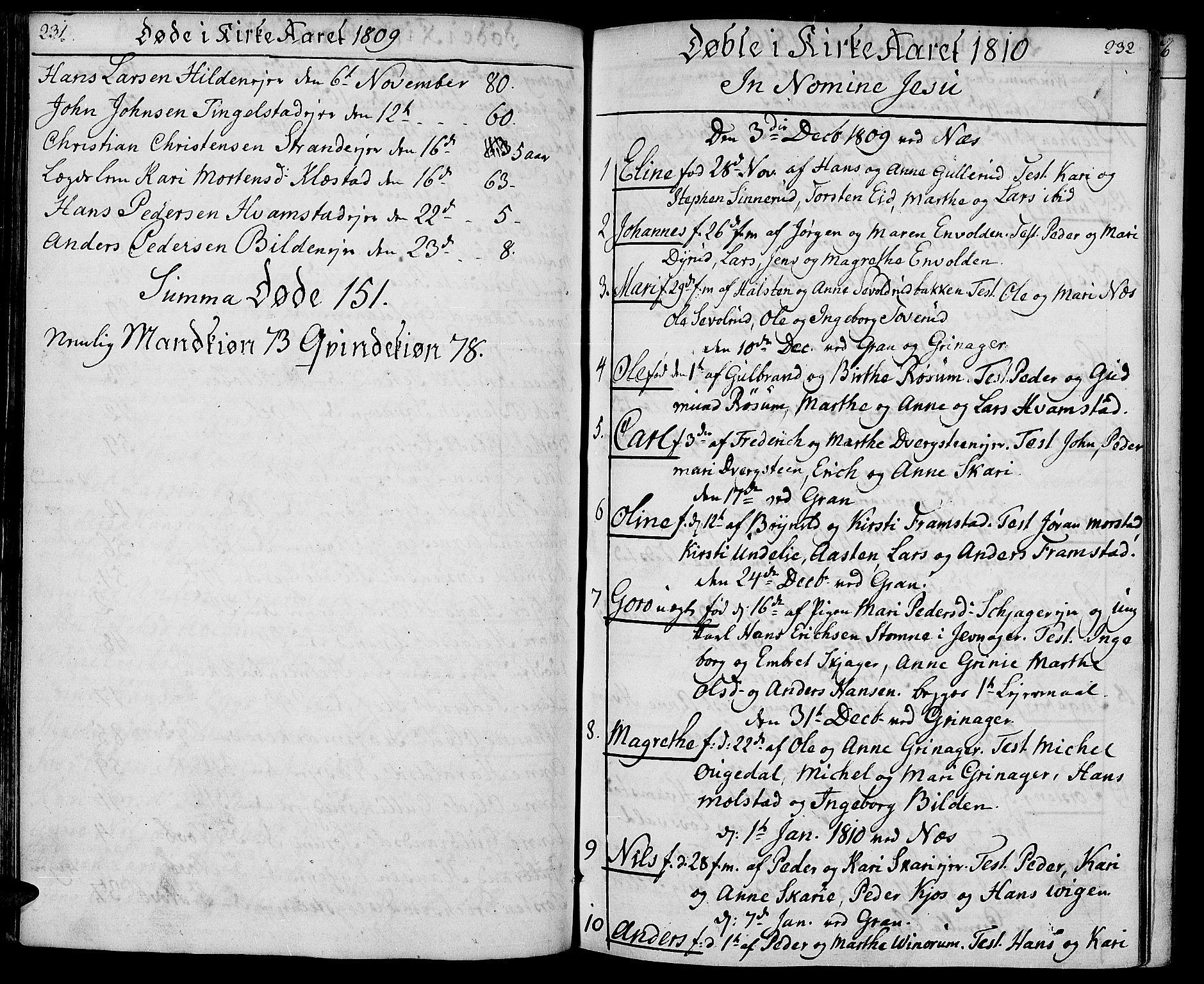 SAH, Gran prestekontor, Ministerialbok nr. 8, 1798-1811, s. 231-232