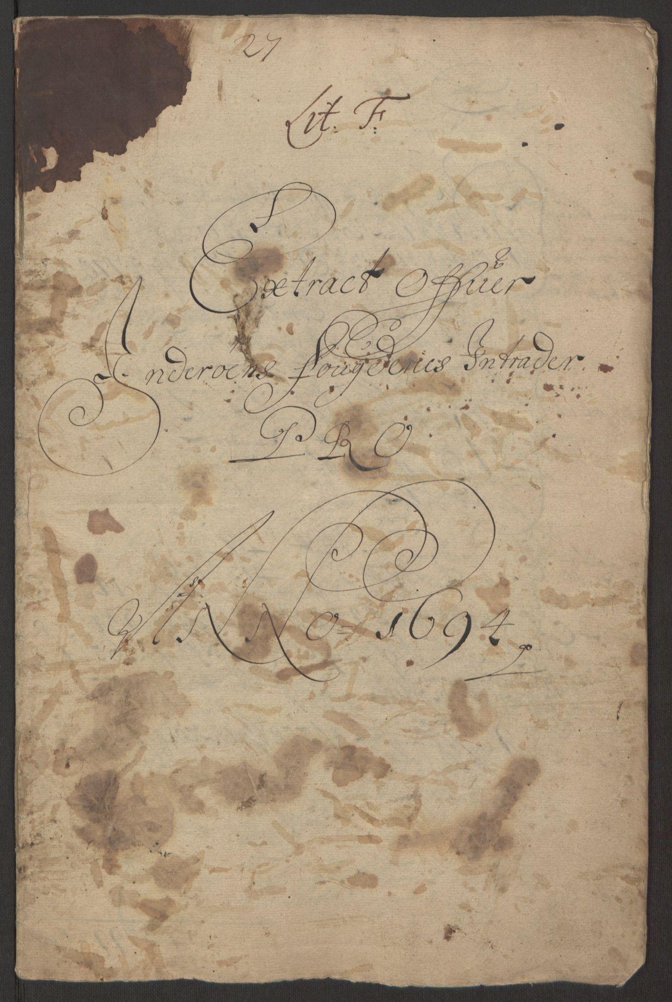 RA, Rentekammeret inntil 1814, Reviderte regnskaper, Fogderegnskap, R63/L4308: Fogderegnskap Inderøy, 1692-1694, s. 523
