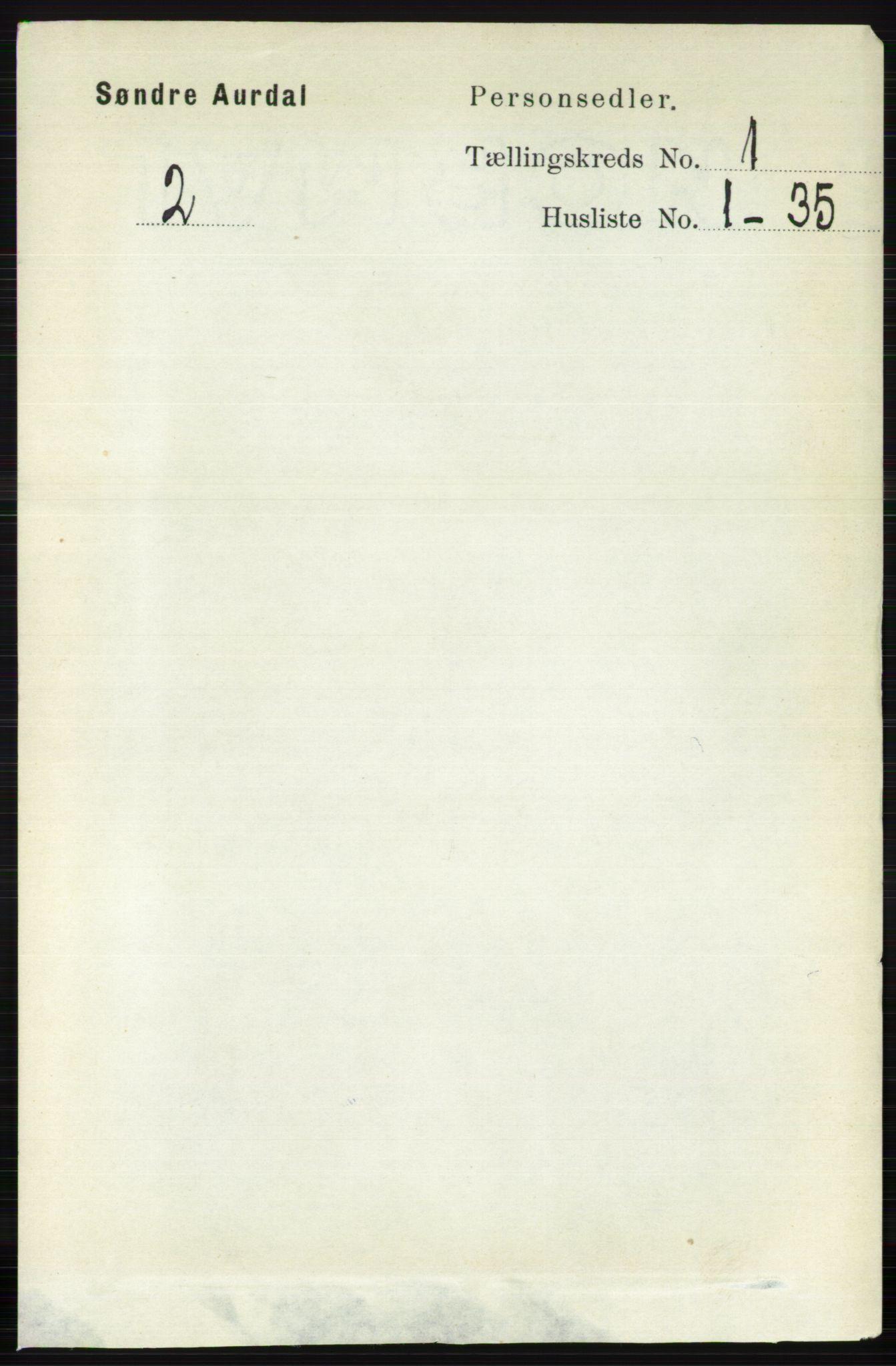 RA, Folketelling 1891 for 0540 Sør-Aurdal herred, 1891, s. 142