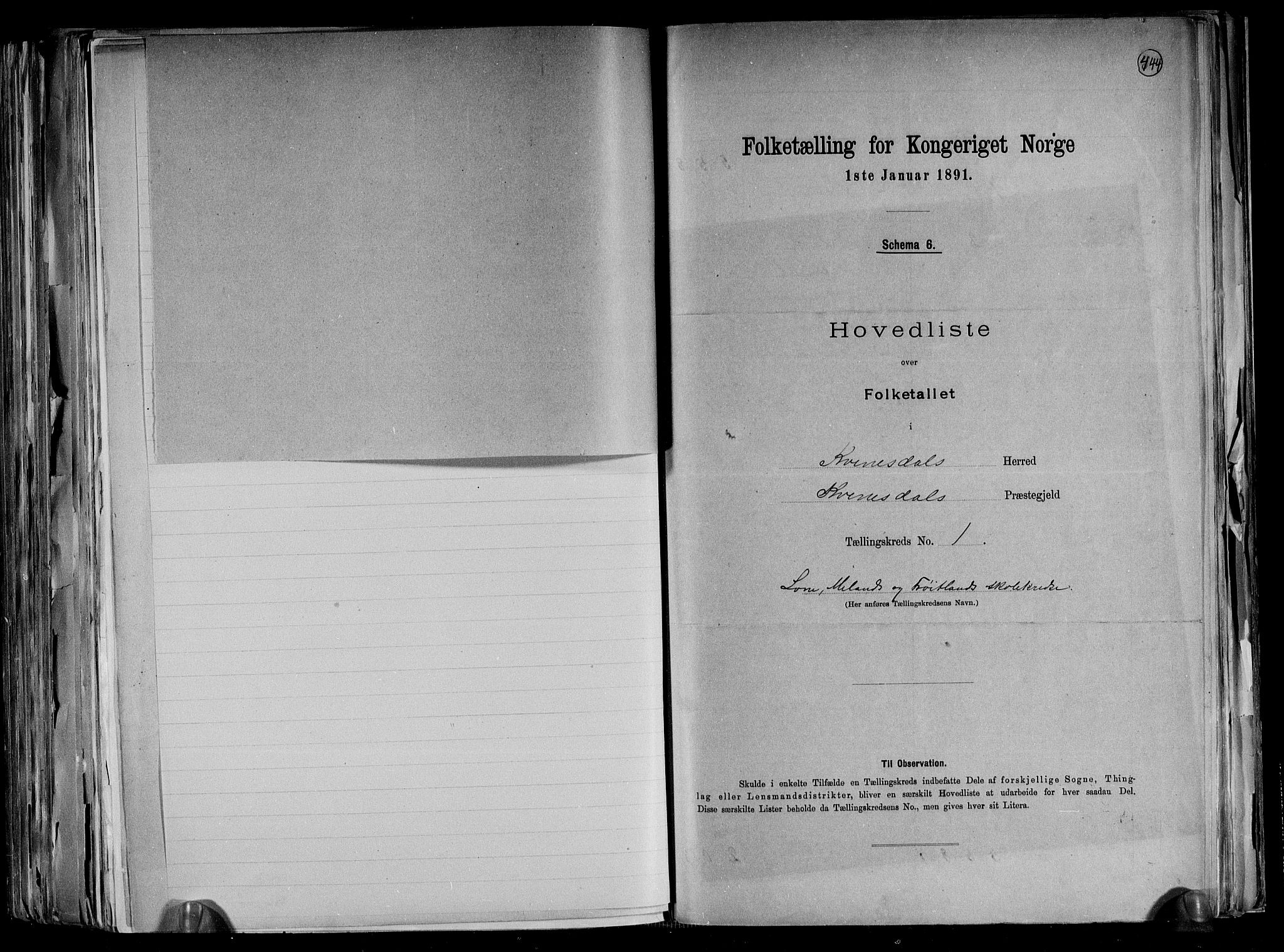 RA, Folketelling 1891 for 1037 Kvinesdal herred, 1891, s. 6