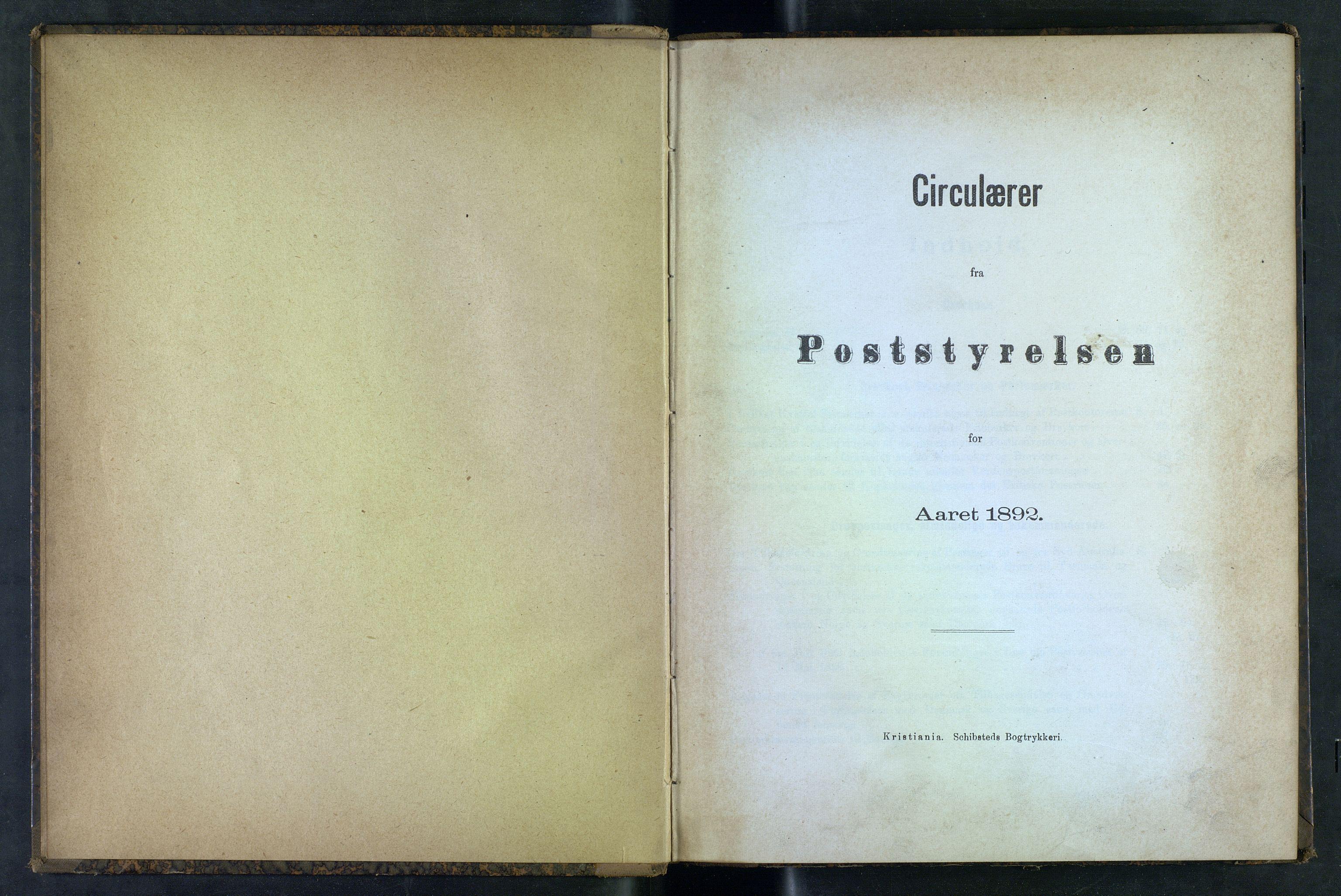 NOPO, Norges Postmuseums bibliotek, -/-: Sirkulærer fra Poststyrelsen, 1892