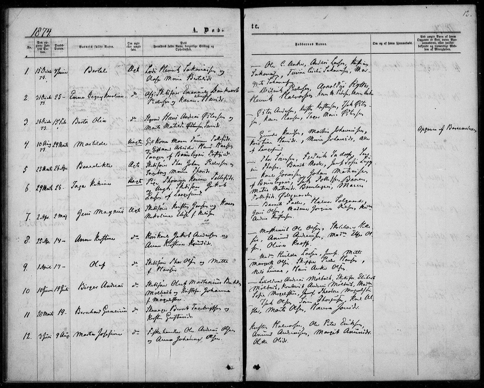 SAKO, Langesund kirkebøker, F/Fa/L0001: Ministerialbok nr. 1, 1870-1877, s. 12