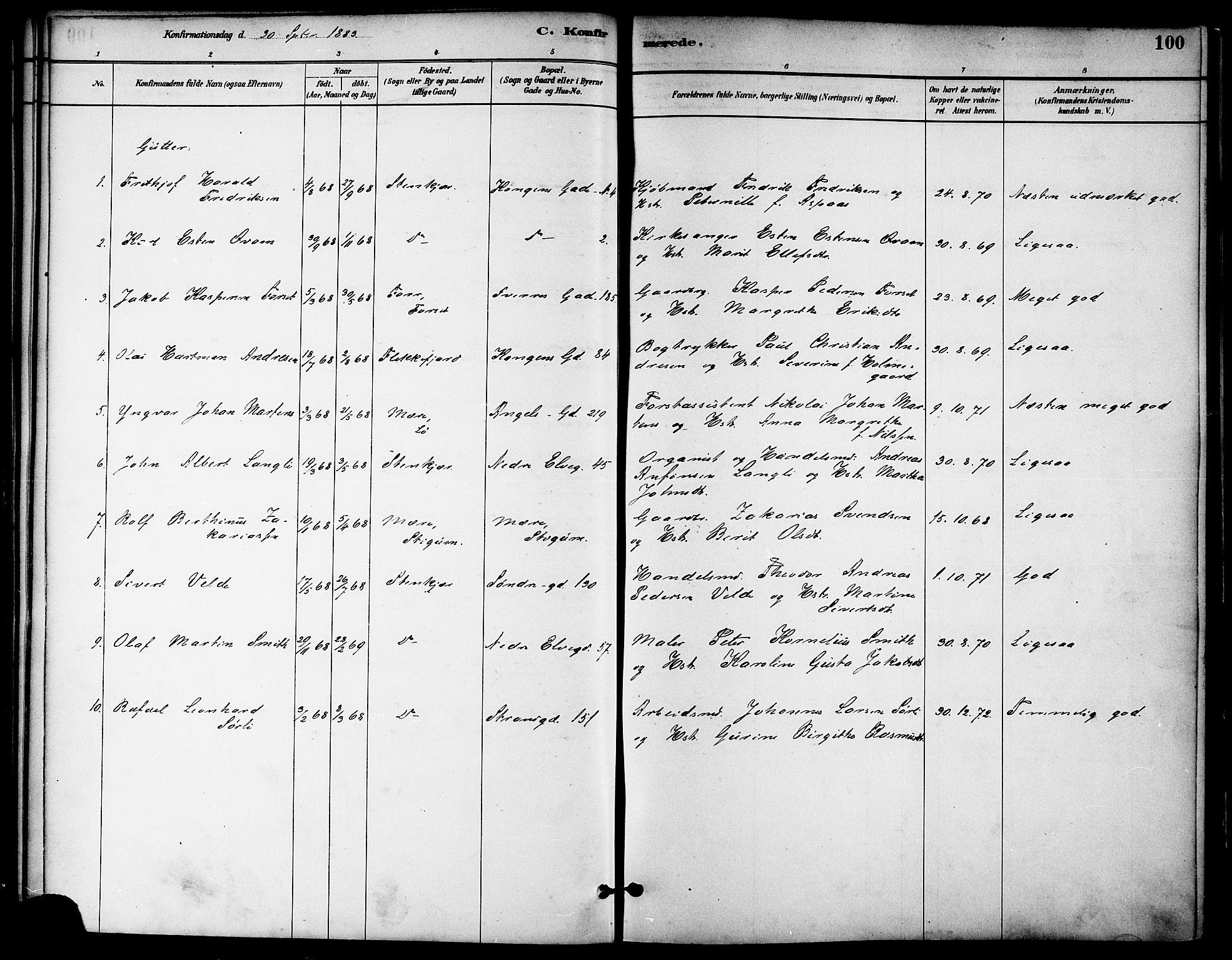SAT, Ministerialprotokoller, klokkerbøker og fødselsregistre - Nord-Trøndelag, 739/L0371: Ministerialbok nr. 739A03, 1881-1895, s. 100