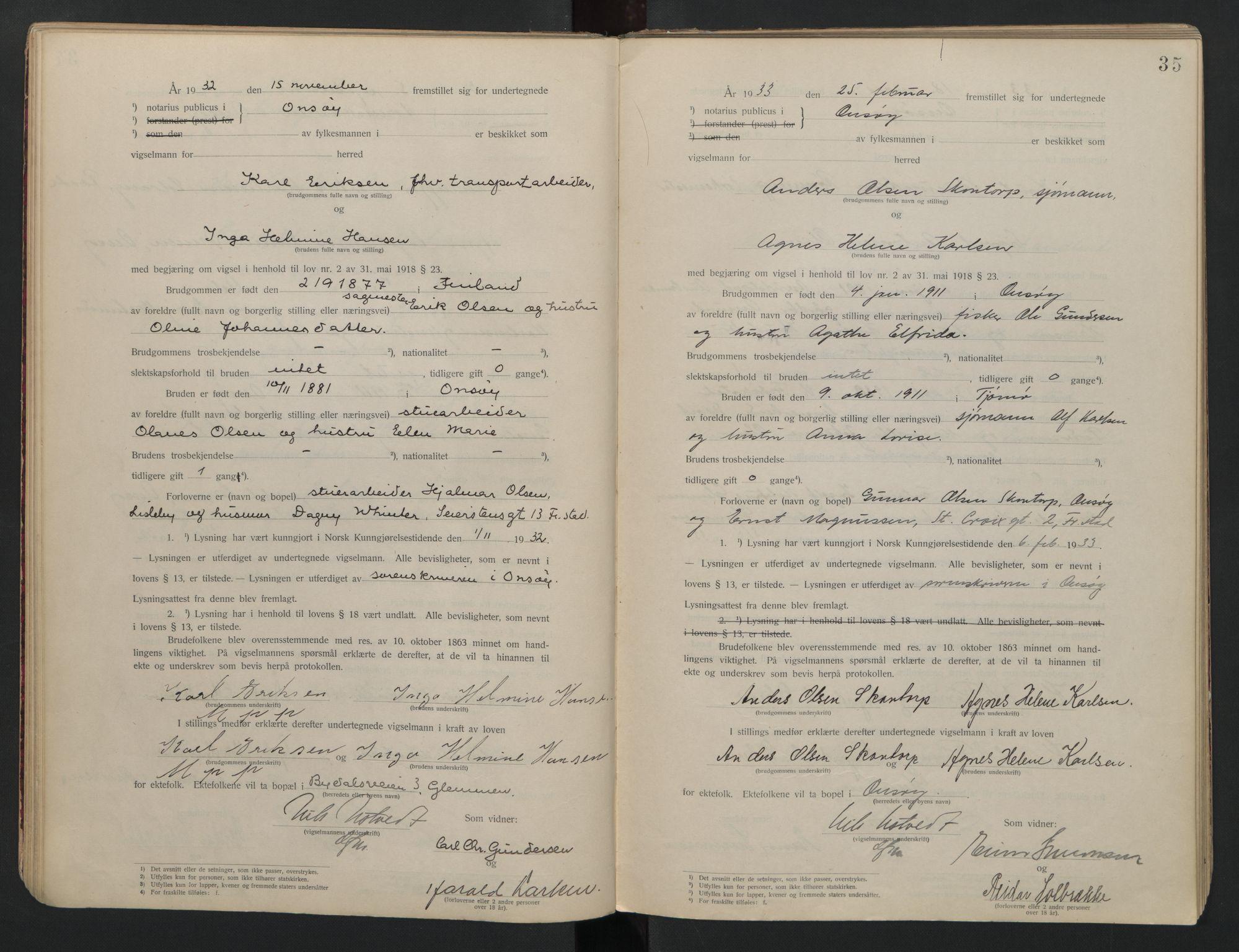 SAO, Onsøy sorenskriveri, L/La/L0001: Vigselsbok, 1920-1942, s. 35
