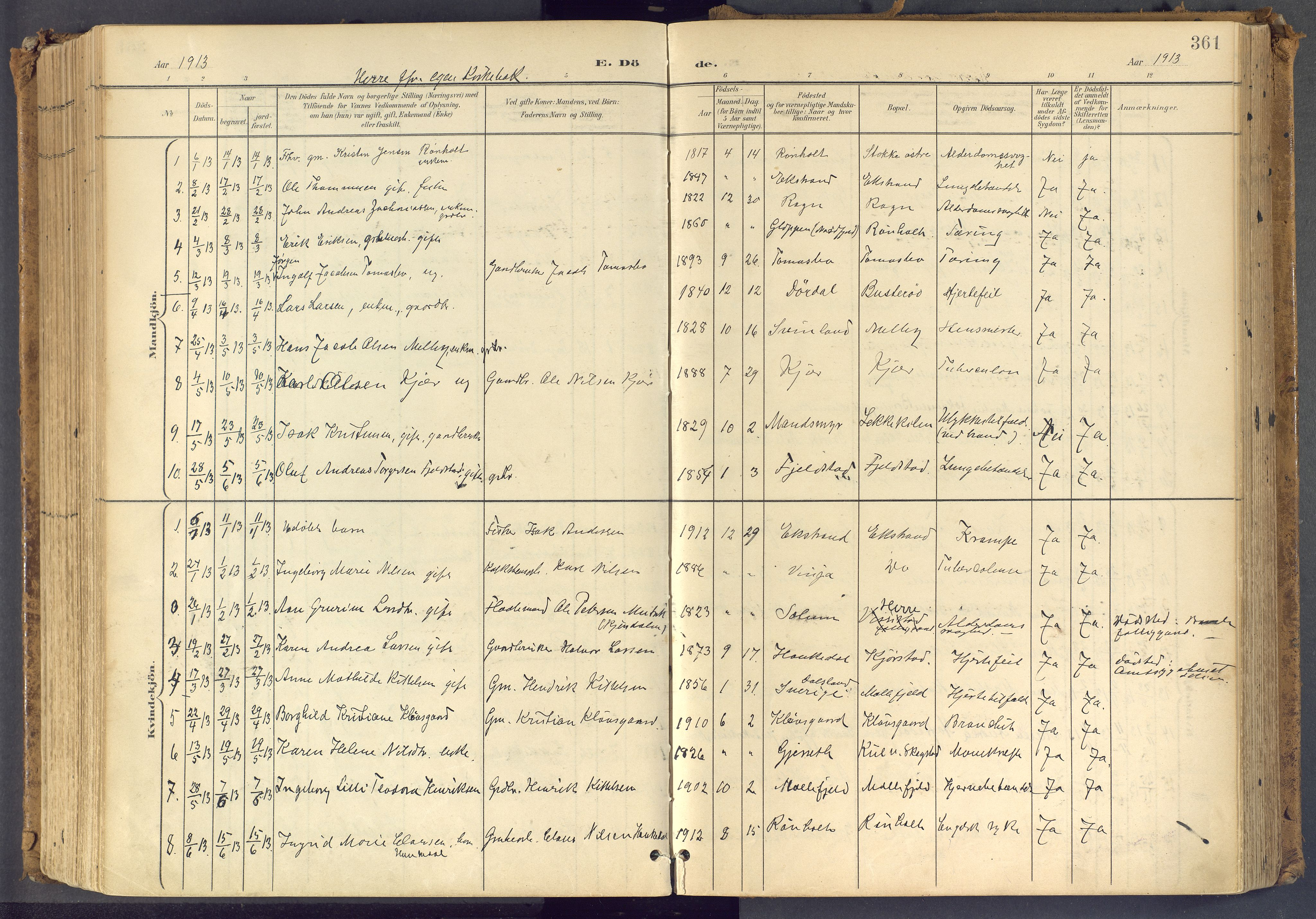 SAKO, Bamble kirkebøker, F/Fa/L0009: Ministerialbok nr. I 9, 1901-1917, s. 361