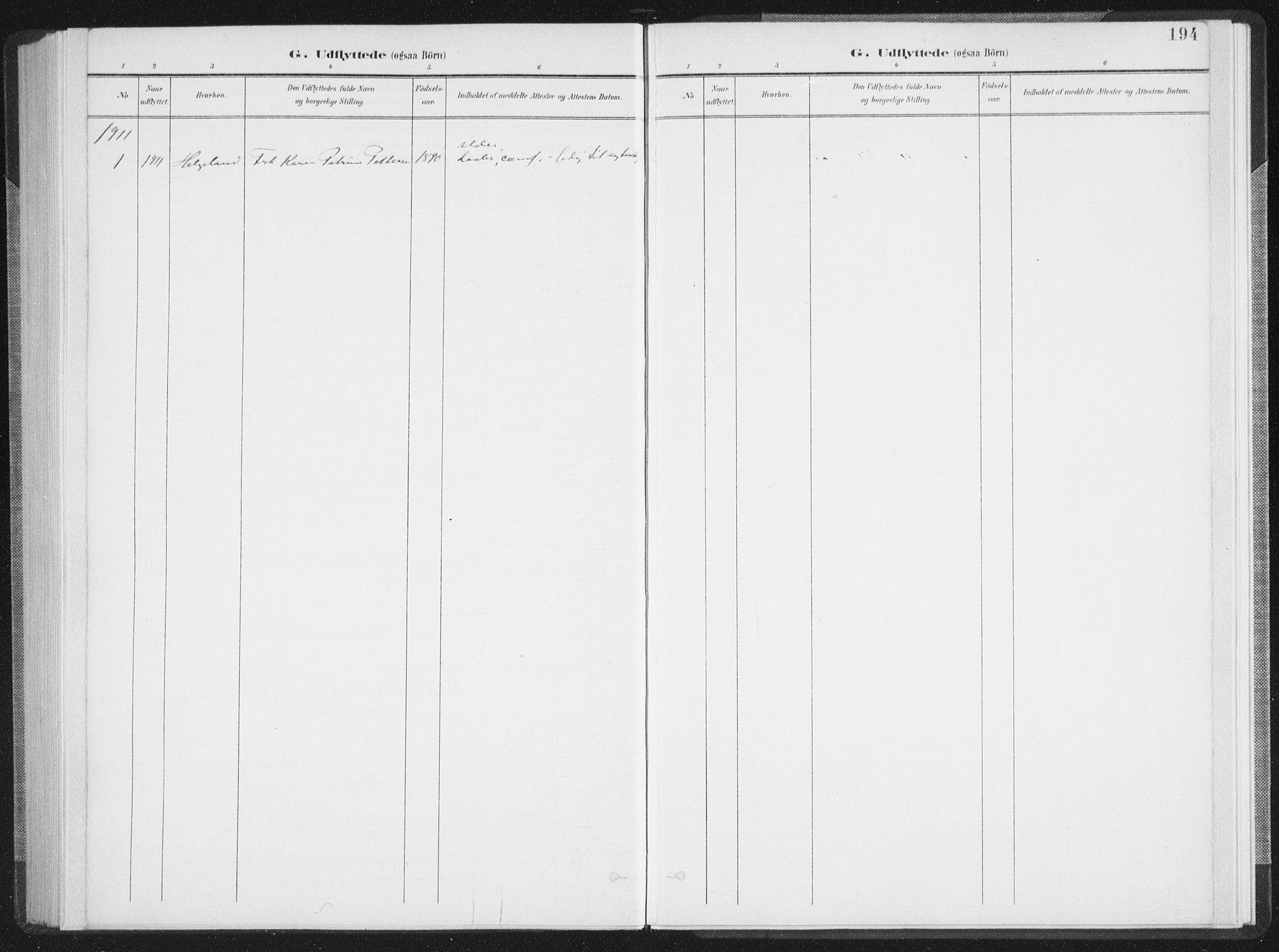 SAT, Ministerialprotokoller, klokkerbøker og fødselsregistre - Nordland, 897/L1400: Ministerialbok nr. 897A07, 1897-1908, s. 194
