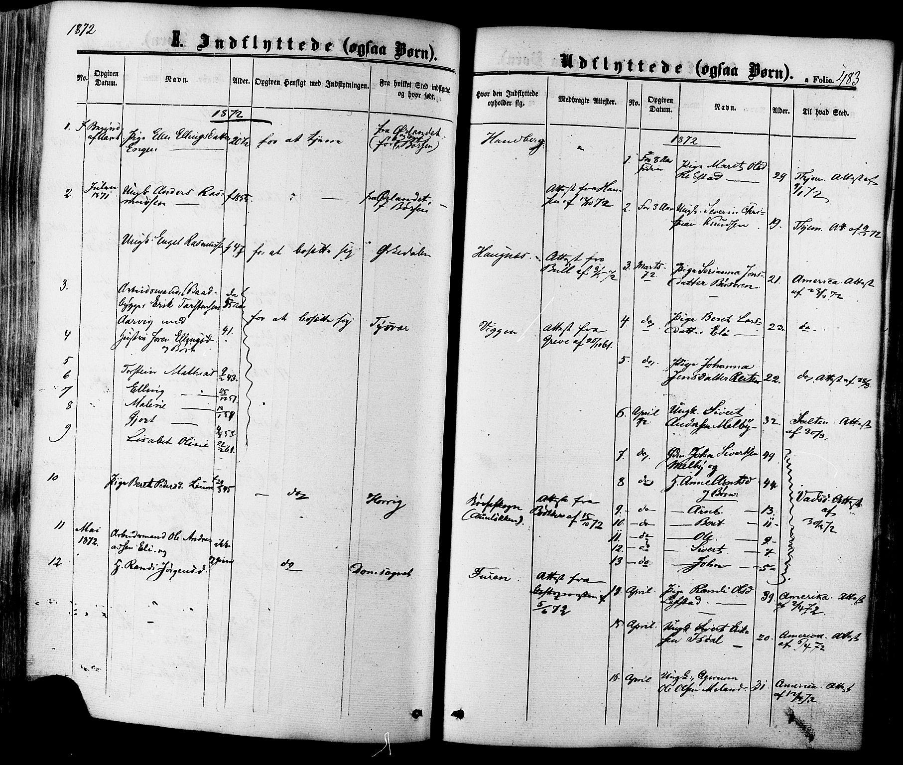 SAT, Ministerialprotokoller, klokkerbøker og fødselsregistre - Sør-Trøndelag, 665/L0772: Ministerialbok nr. 665A07, 1856-1878, s. 483