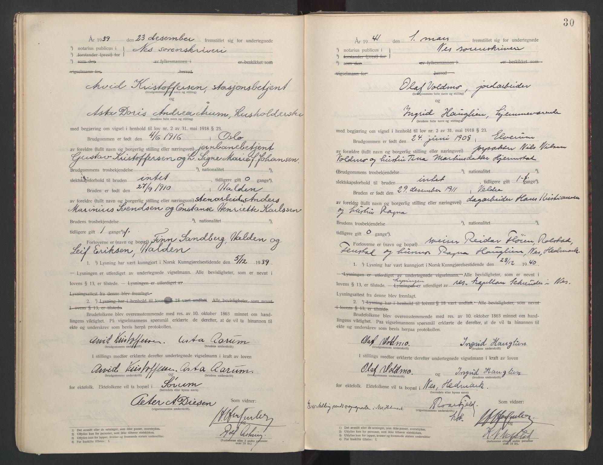 SAO, Nes tingrett, L/Lc/Lca/L0001: Vigselbok, 1920-1943, s. 30