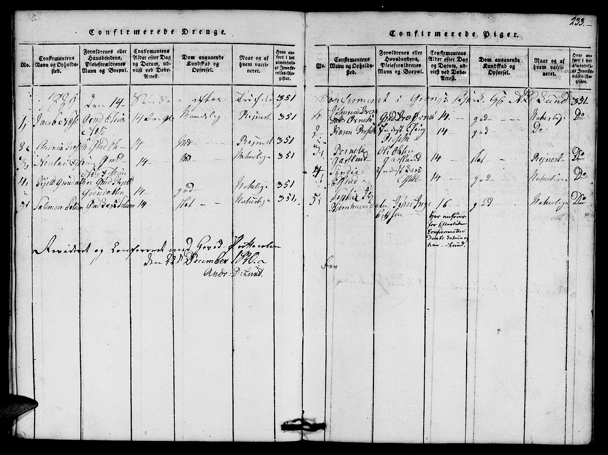 SAT, Ministerialprotokoller, klokkerbøker og fødselsregistre - Nord-Trøndelag, 759/L0527: Klokkerbok nr. 759C01 /1, 1816-1825, s. 233