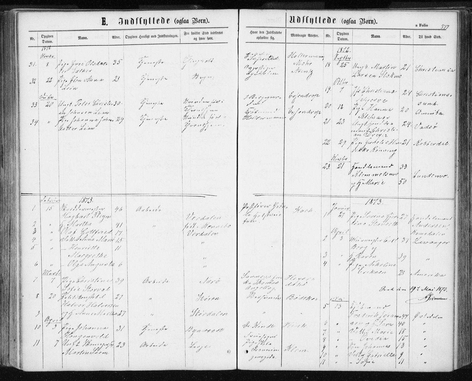 SAT, Ministerialprotokoller, klokkerbøker og fødselsregistre - Sør-Trøndelag, 601/L0055: Ministerialbok nr. 601A23, 1866-1877, s. 517