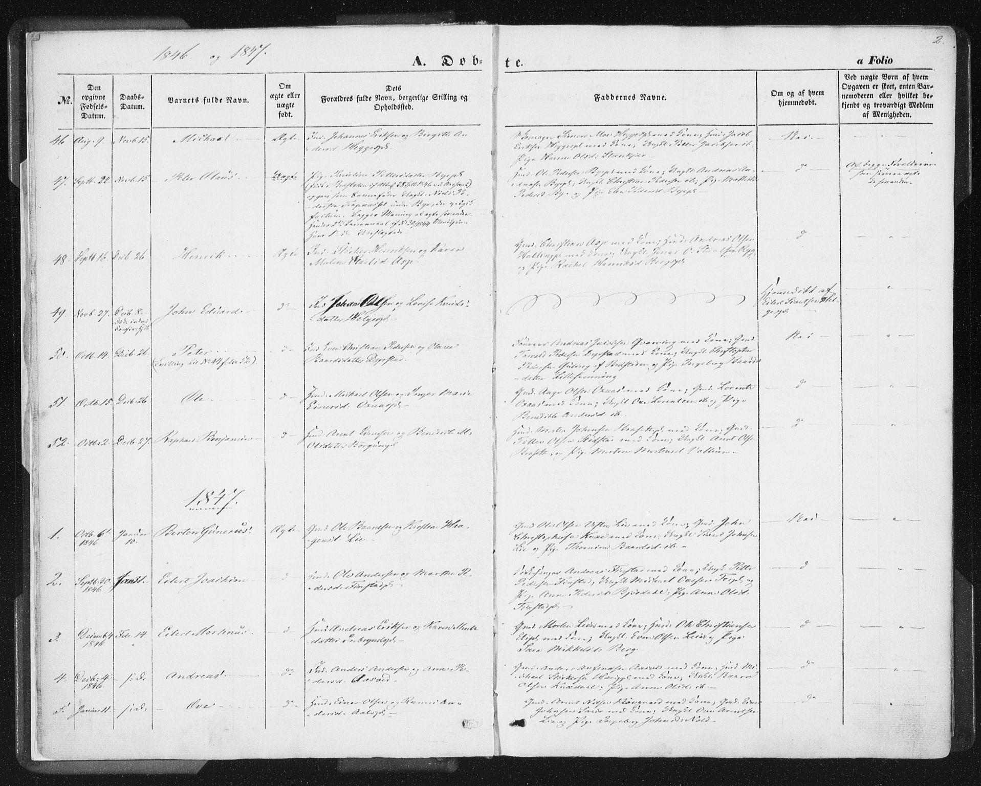 SAT, Ministerialprotokoller, klokkerbøker og fødselsregistre - Nord-Trøndelag, 746/L0446: Ministerialbok nr. 746A05, 1846-1859, s. 2
