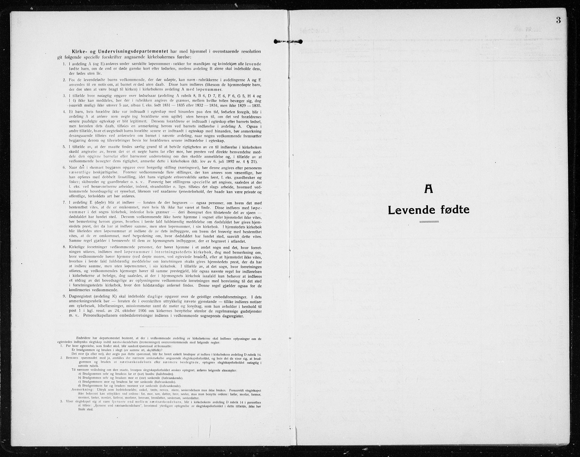 SAB, Vik Sokneprestembete, Klokkerbok nr. A 5, 1915-1935, s. 3