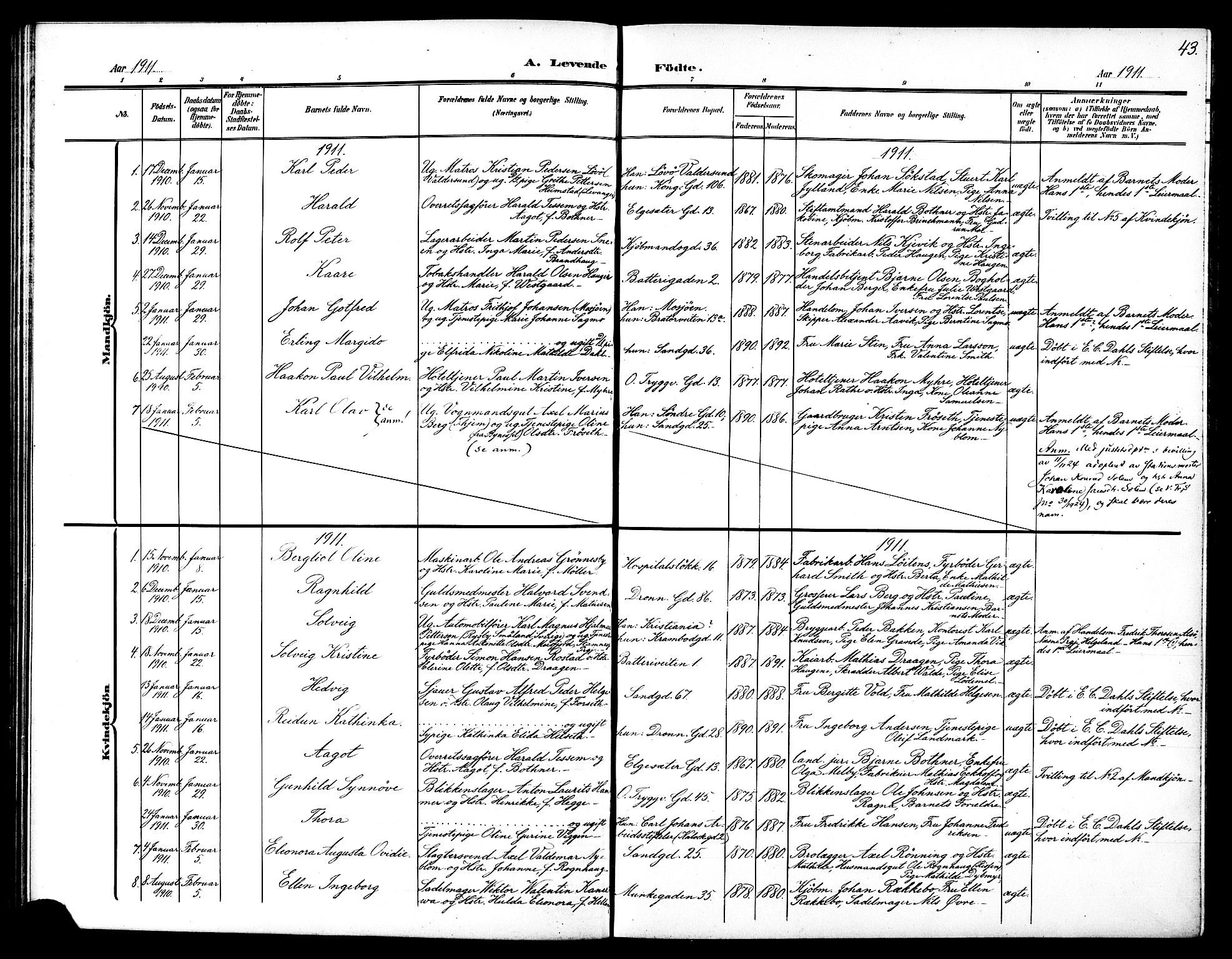 SAT, Ministerialprotokoller, klokkerbøker og fødselsregistre - Sør-Trøndelag, 602/L0146: Klokkerbok nr. 602C14, 1904-1914, s. 43