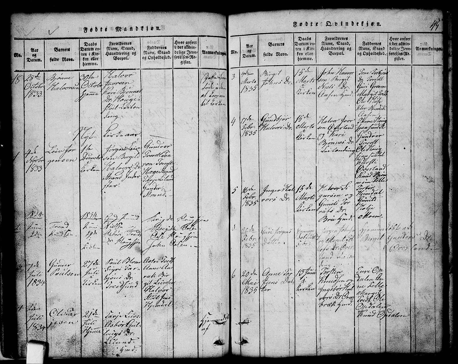SAKO, Nissedal kirkebøker, G/Gb/L0001: Klokkerbok nr. II 1, 1814-1862, s. 45