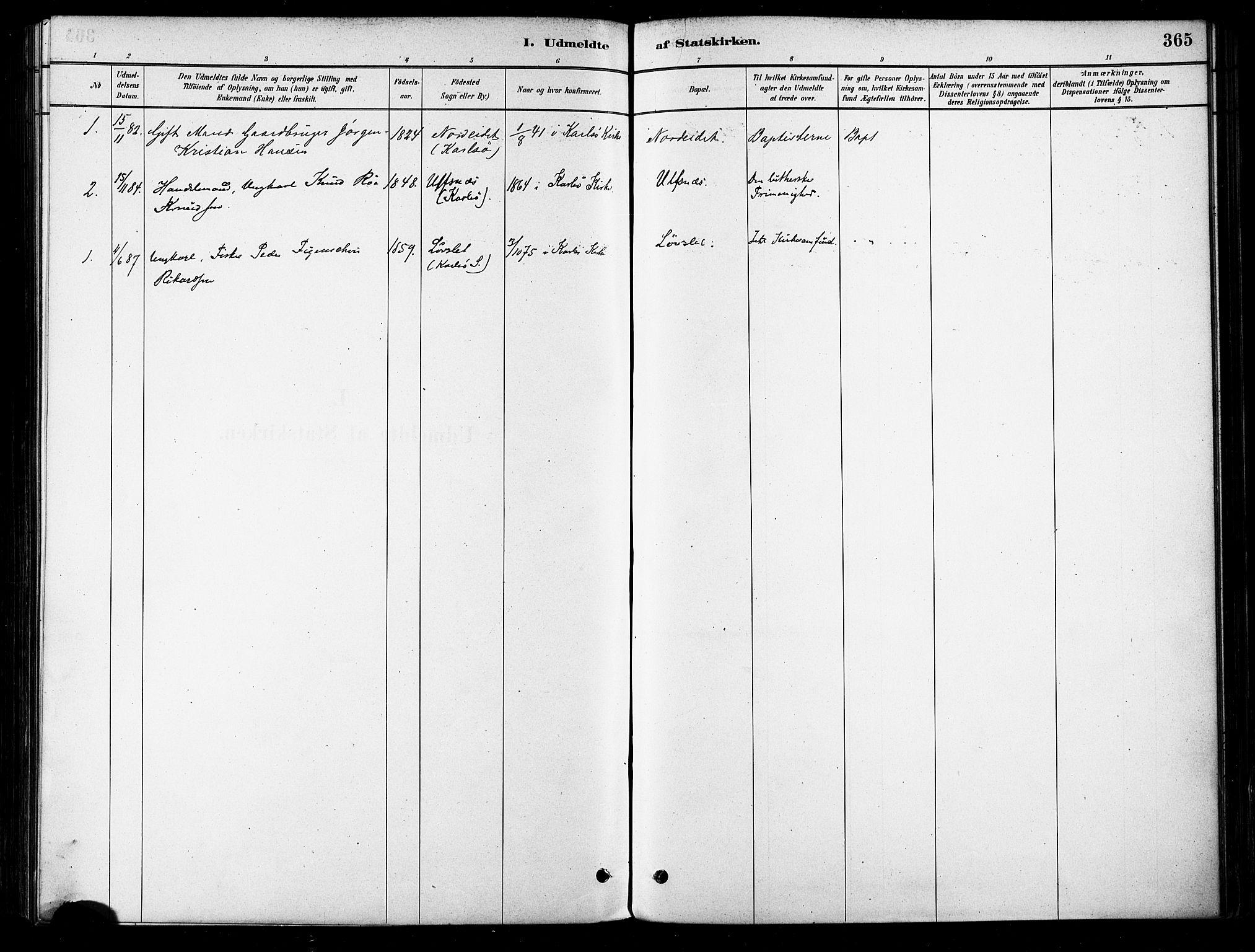 SATØ, Karlsøy sokneprestembete, H/Ha/Haa/L0006kirke: Ministerialbok nr. 6, 1879-1890, s. 365