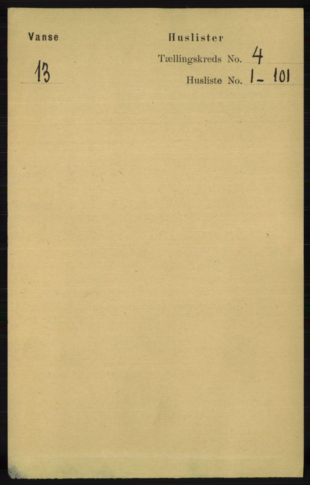 RA, Folketelling 1891 for 1041 Vanse herred, 1891, s. 2039