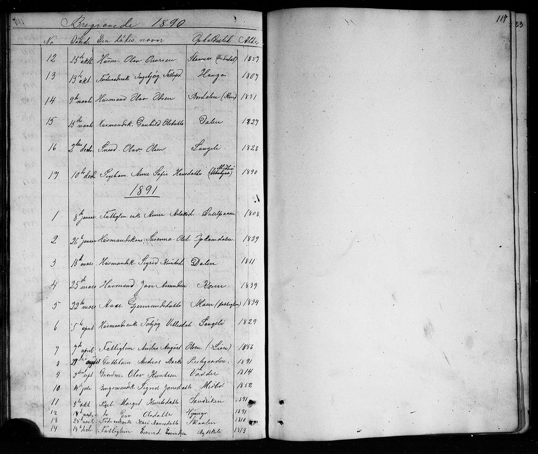 SAKO, Mo kirkebøker, G/Ga/L0001: Klokkerbok nr. I 1, 1851-1891, s. 117