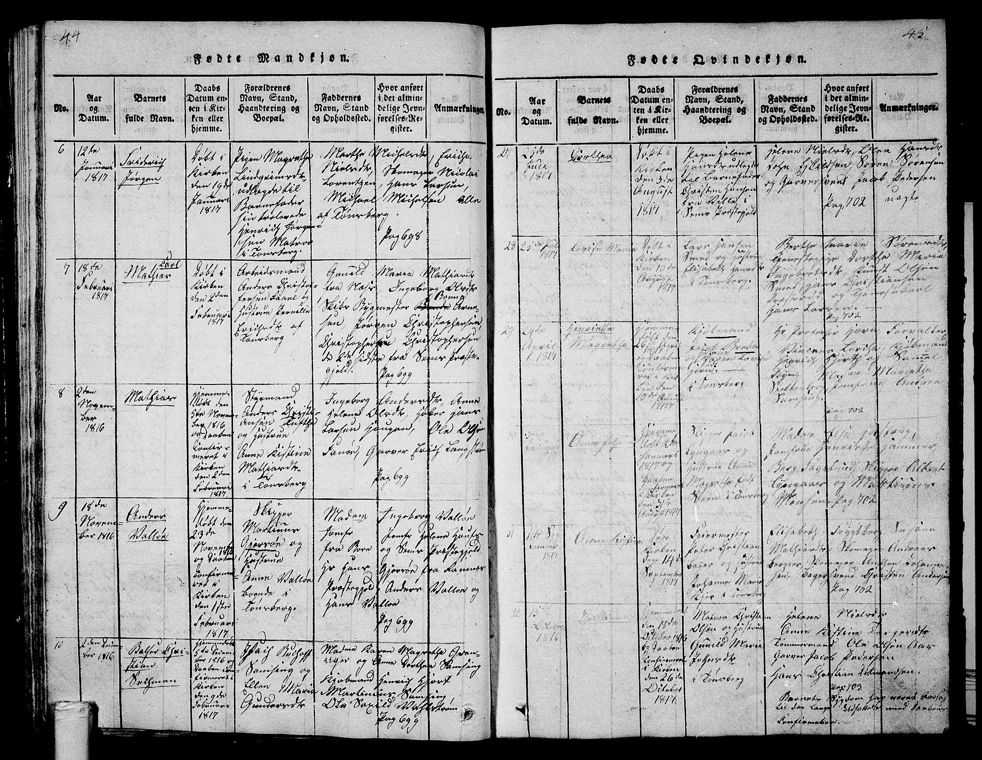 SAKO, Tønsberg kirkebøker, G/Ga/L0001: Klokkerbok nr. 1, 1813-1826, s. 44-45